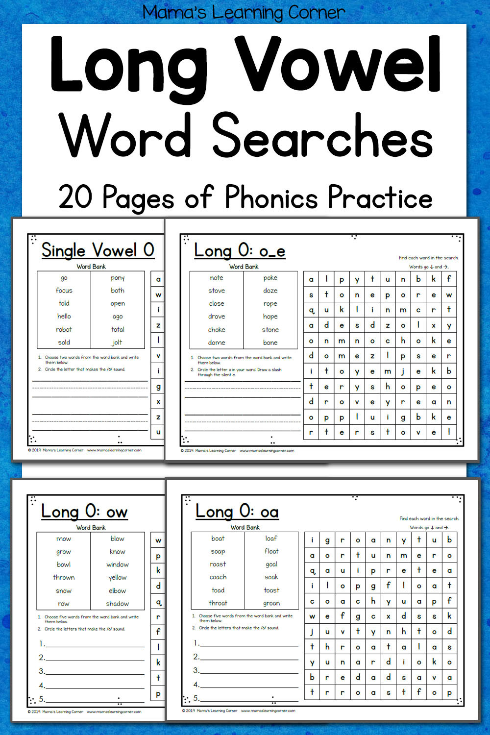 Long O Worksheets 2nd Grade Long Vowel Word Search Puzzles Mamas Learning Corner
