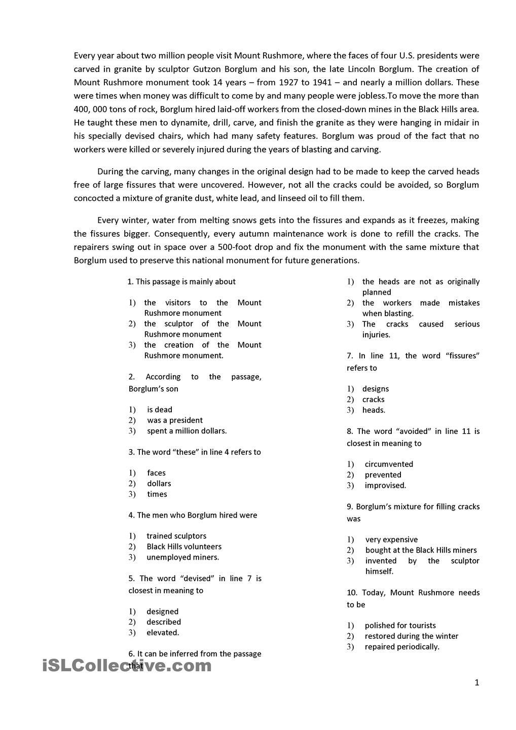 Main Idea Worksheets High School Reading with 10 Multiple Choice Questions