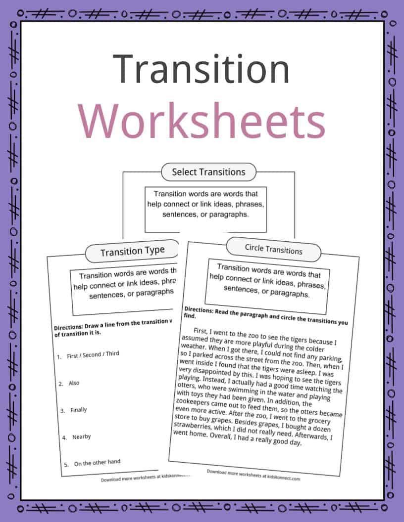 Main Idea Worksheets High School Transition Words Worksheets Examples & Definition for Kids