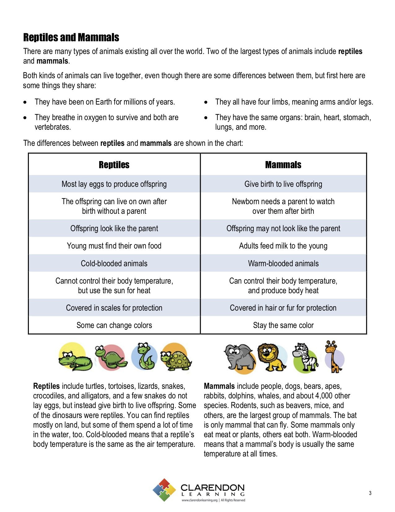 Mammals Worksheets for 2nd Grade Reptiles and Mammals
