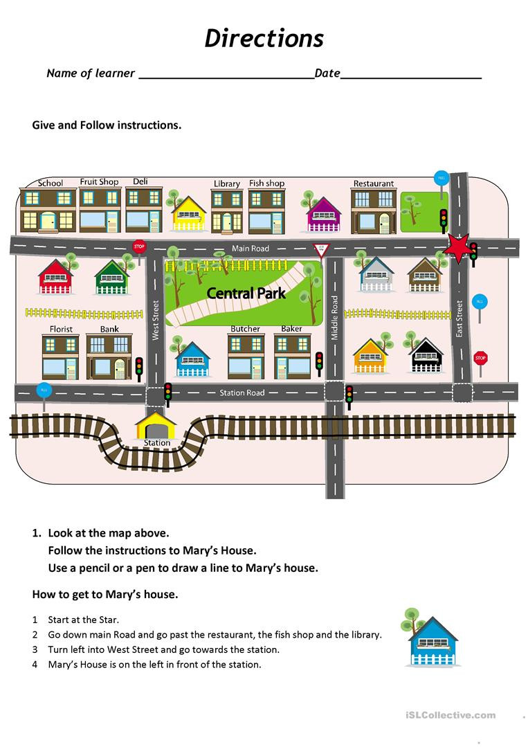 Map Skills Worksheets Middle School Give and Follow Directions On A Map English Esl Worksheets