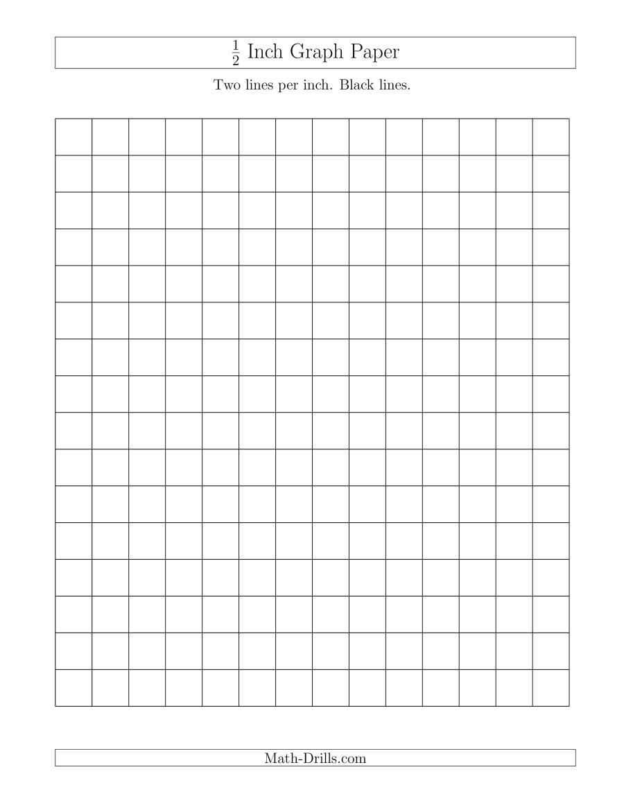 Math Drills Graph Paper 1 2 Inch Graph Paper with Black Lines A