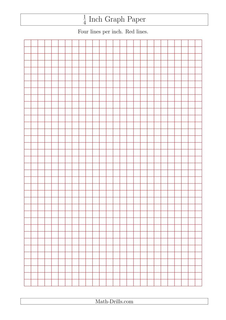 Math Drills Graph Paper 1 4 Inch Graph Paper with Red Lines A4 Size Red