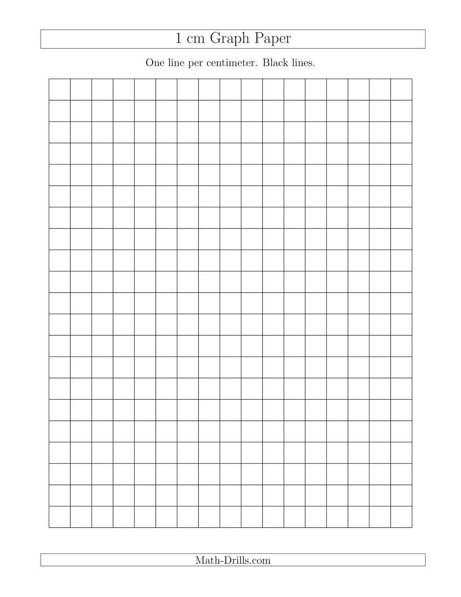 Math Drills Graph Paper 1 Cm Graph Paper with Black Lines A