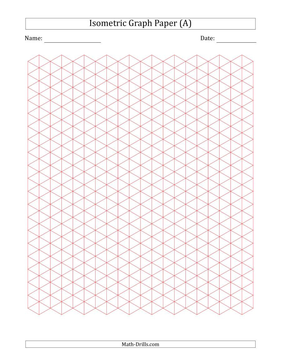 Math Drills Graph Paper 1 Cm isometric Graph Paper Red