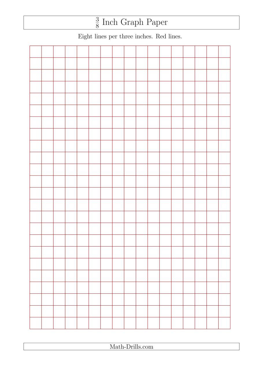 Math Drills Graph Paper 3 8 Inch Graph Paper with Red Lines A4 Size Red