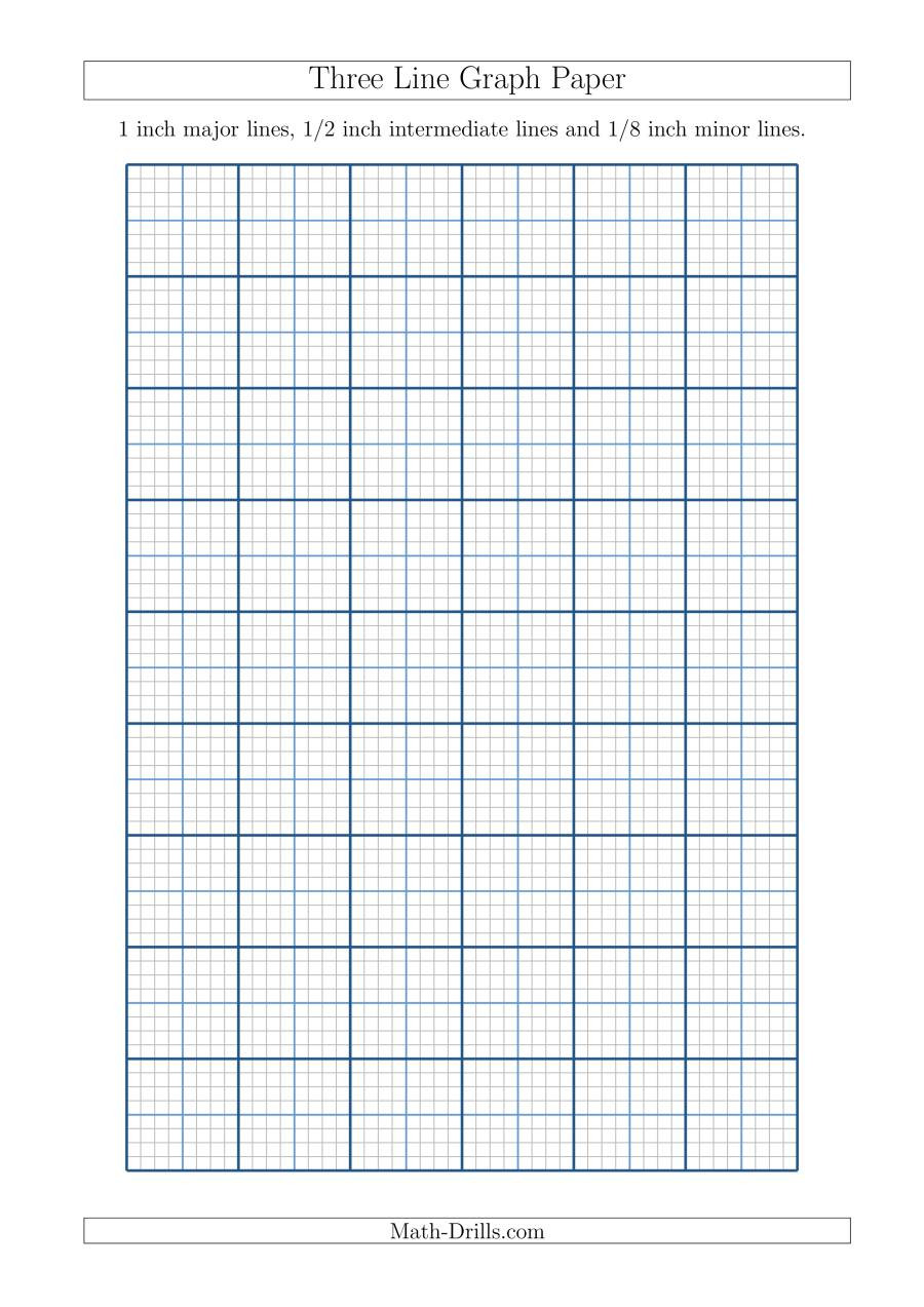 Math Drills Graph Paper Three Line Graph Paper with 1 Inch Major Lines 1 2 Inch