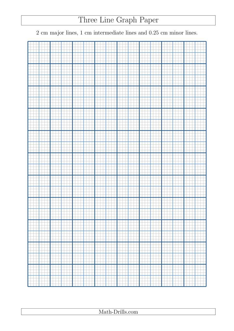 Math Drills Graph Paper Three Line Graph Paper with 2 Cm Major Lines 1 Cm