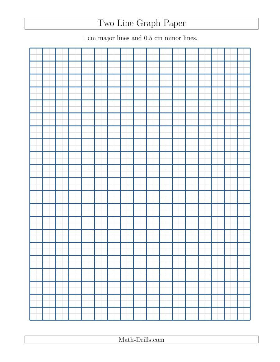 Math Drills Graph Paper Two Line Graph Paper with 1 Cm Major Lines and 0 5 Cm Minor