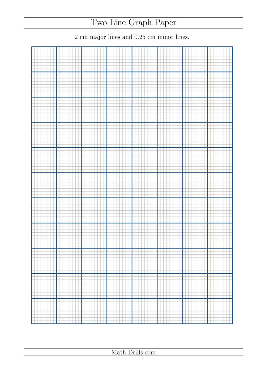 Math Drills Graph Paper Two Line Graph Paper with 2 Cm Major Lines and 0 25 Cm Minor