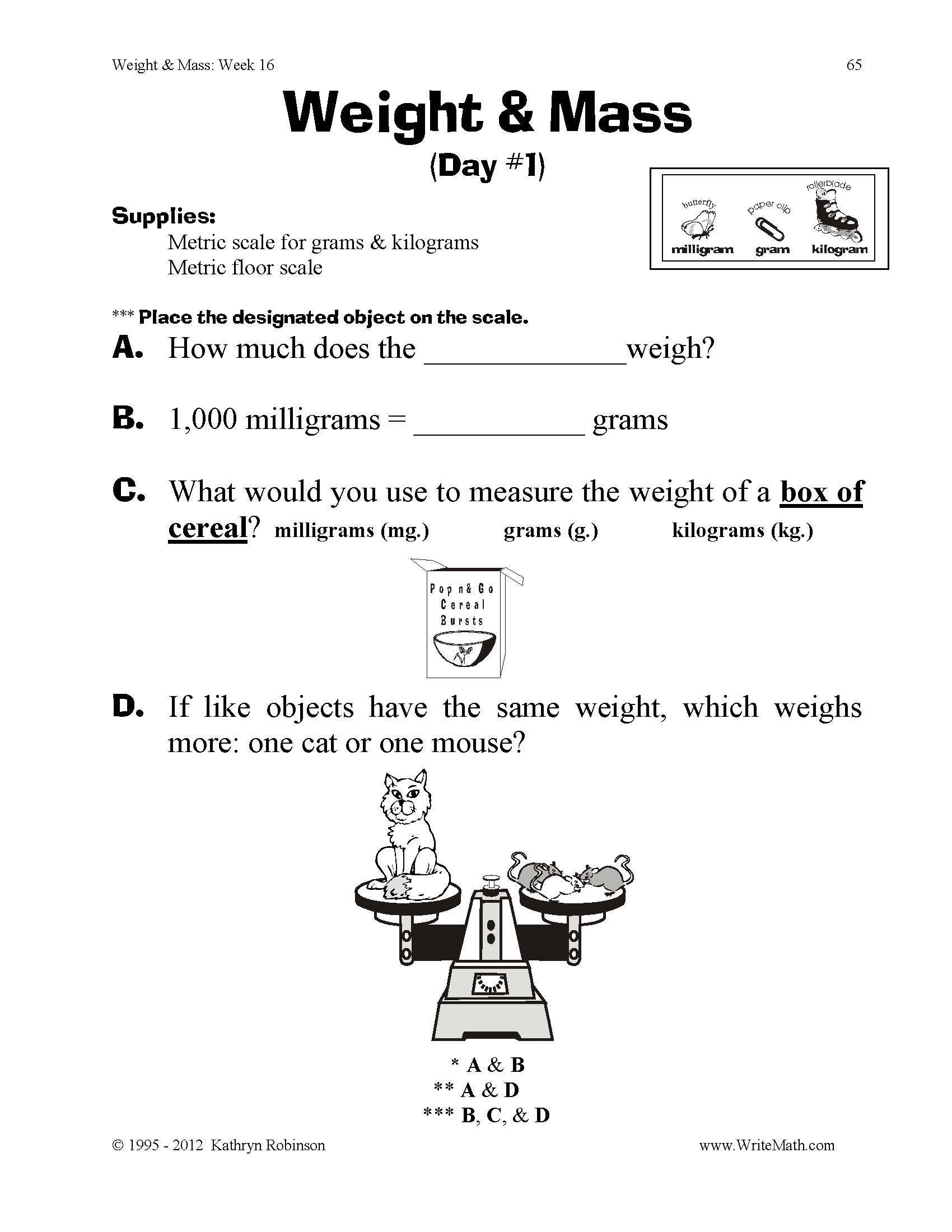 Measurement Worksheets 5th Grade Teaching Weight & Mass 3rd 4th 5th Grade Math Worksheets