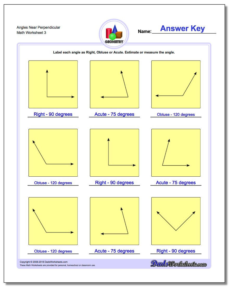Measuring Worksheets for 3rd Grade Angles Right Obtuse Acute