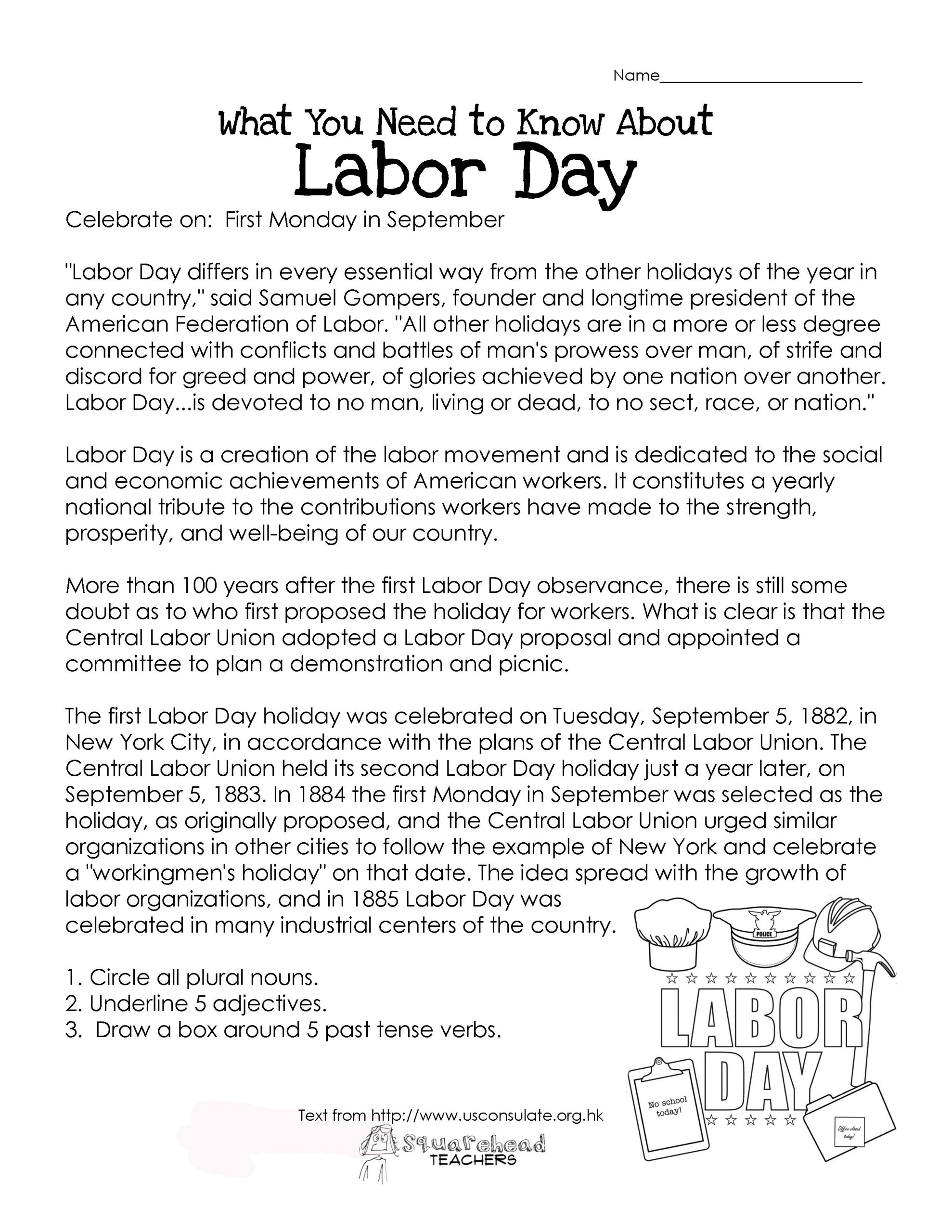 Memorial Day Worksheets Free Printable Labor Day What You Need to Know Free Worksheet
