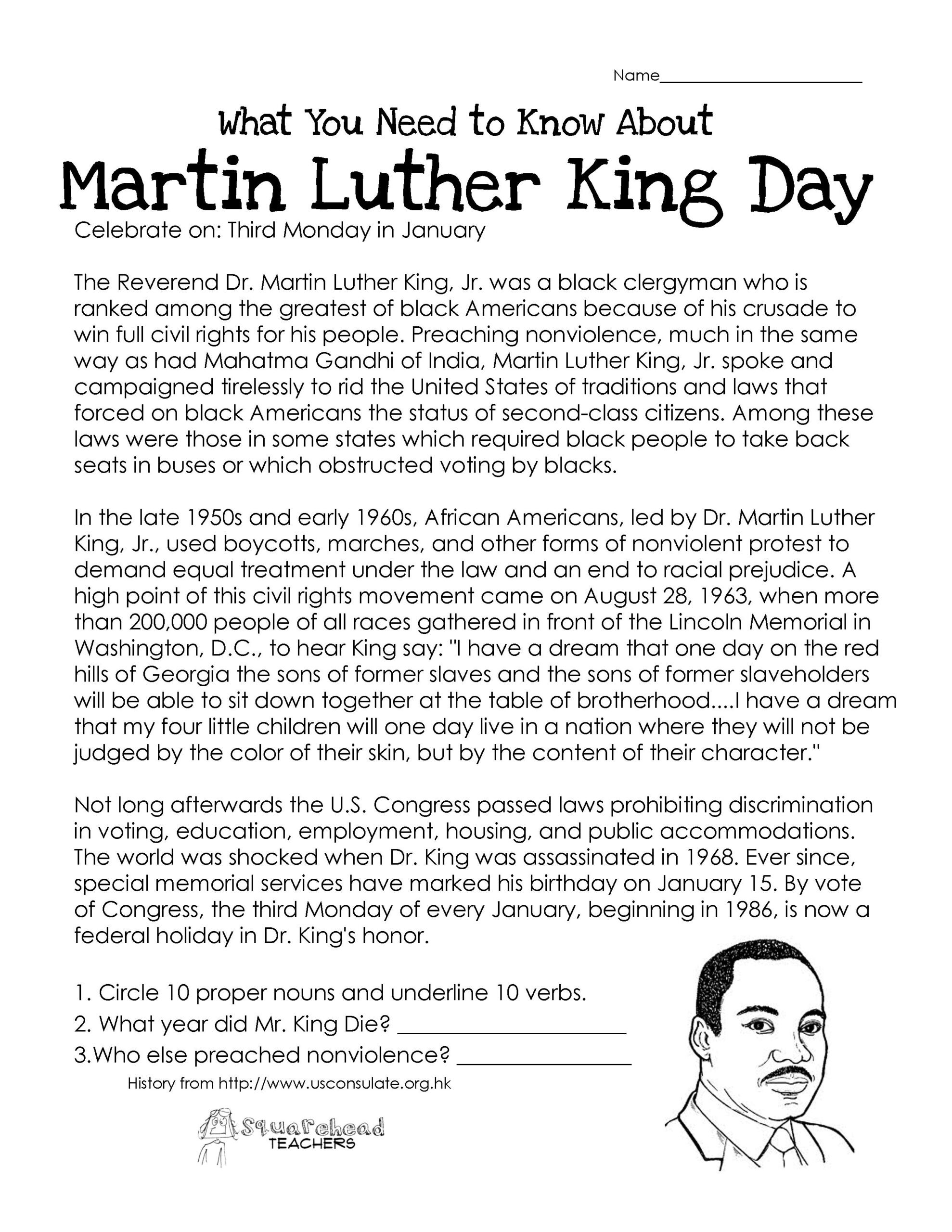 Memorial Day Worksheets Free Printable Luther Free Worksheet Worksheets Electronic Math Facts
