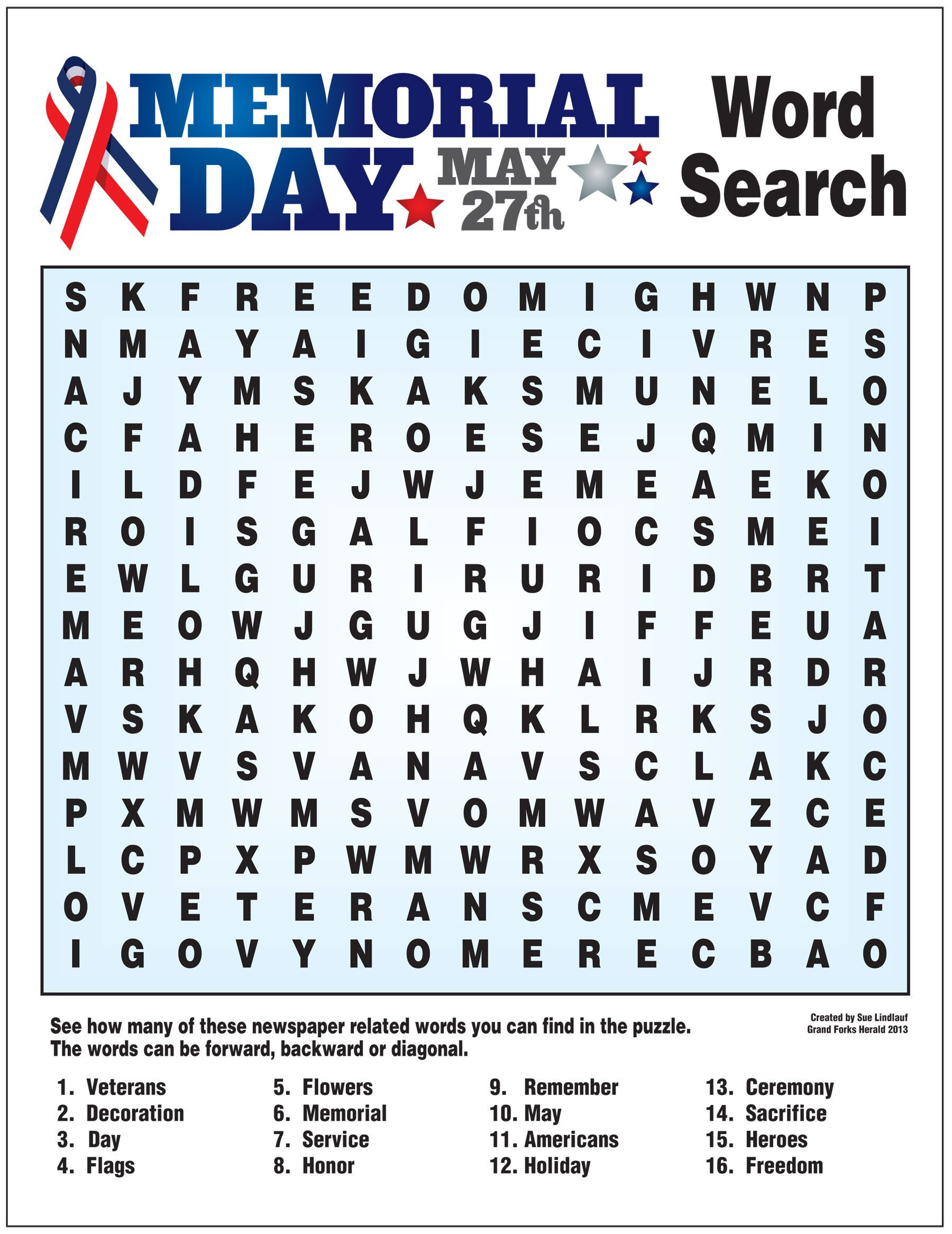 Memorial Day Worksheets Free Printable Word Search for Memorial Day