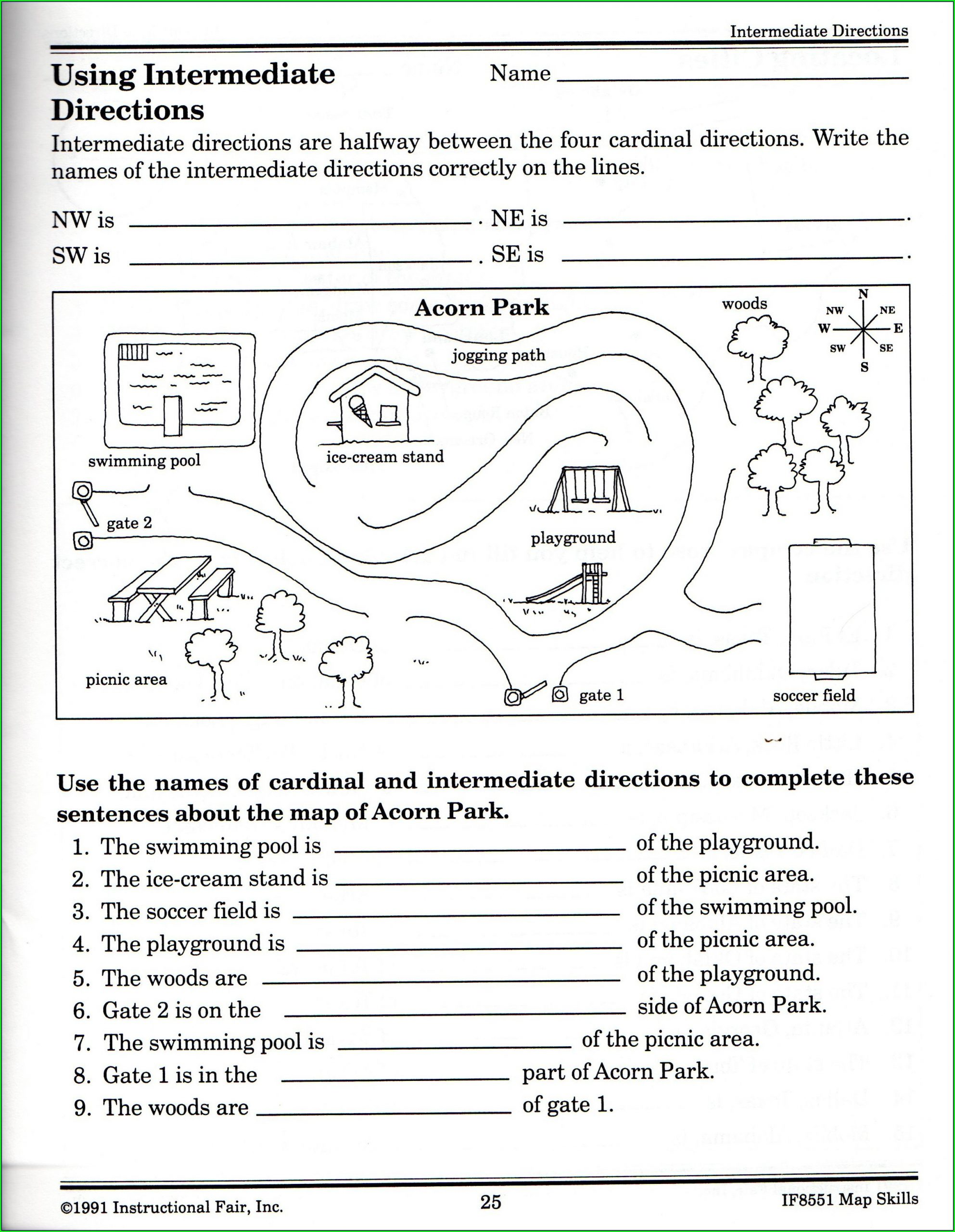 Middle School Map Skills Worksheets Cardinal Directions Worksheet Middle School