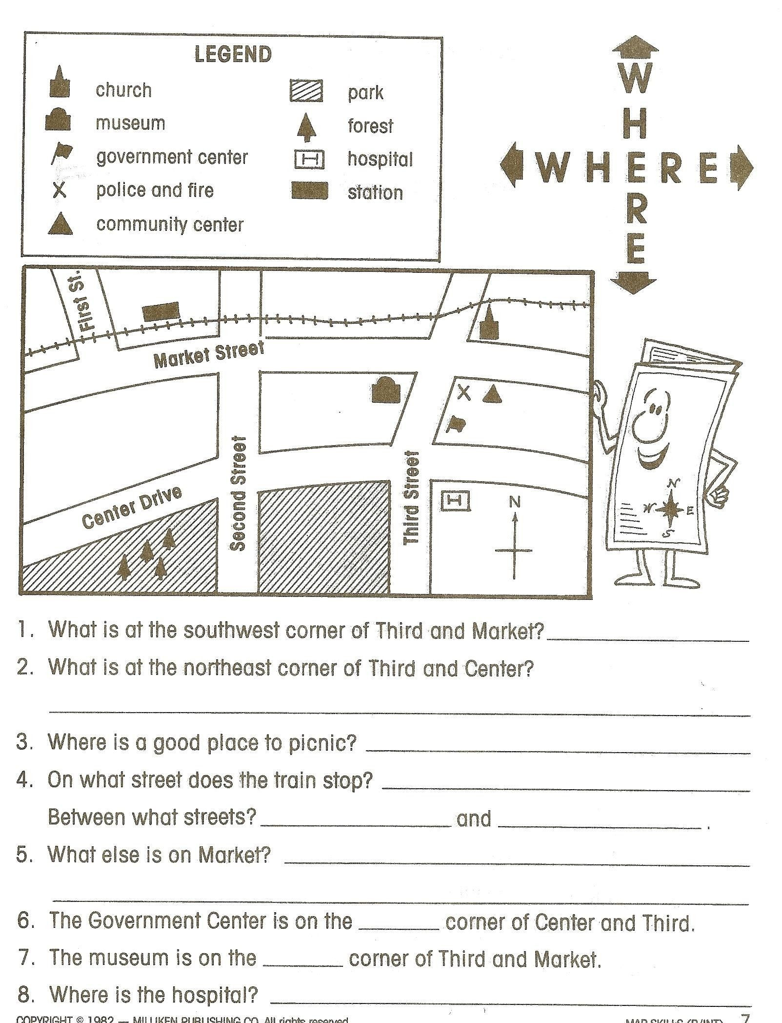 Middle School Map Skills Worksheets Worksheet for Grade 2 Life Skills