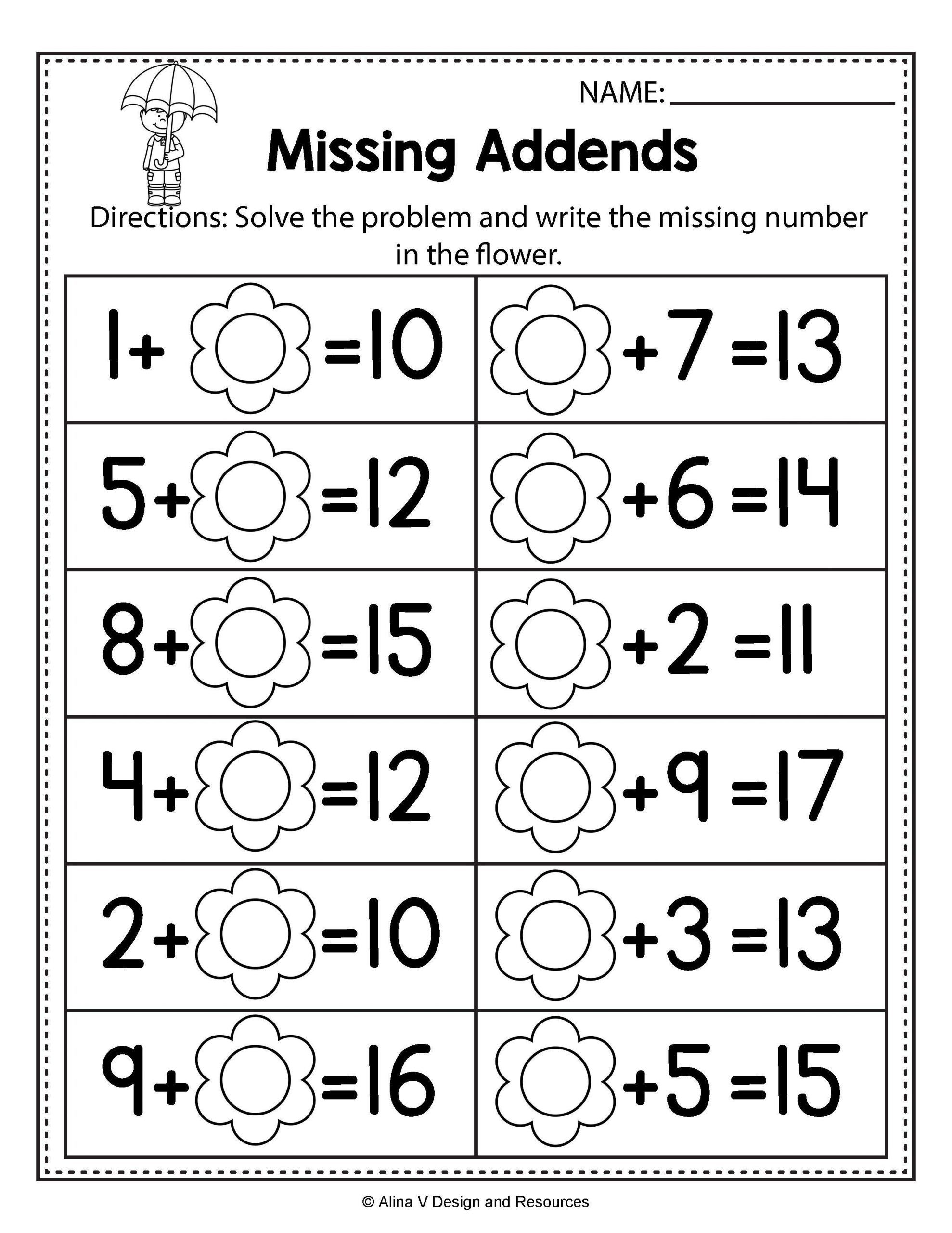 Missing Addend Worksheets First Grade Free Missing Addend Worksheets 1st Grade Free