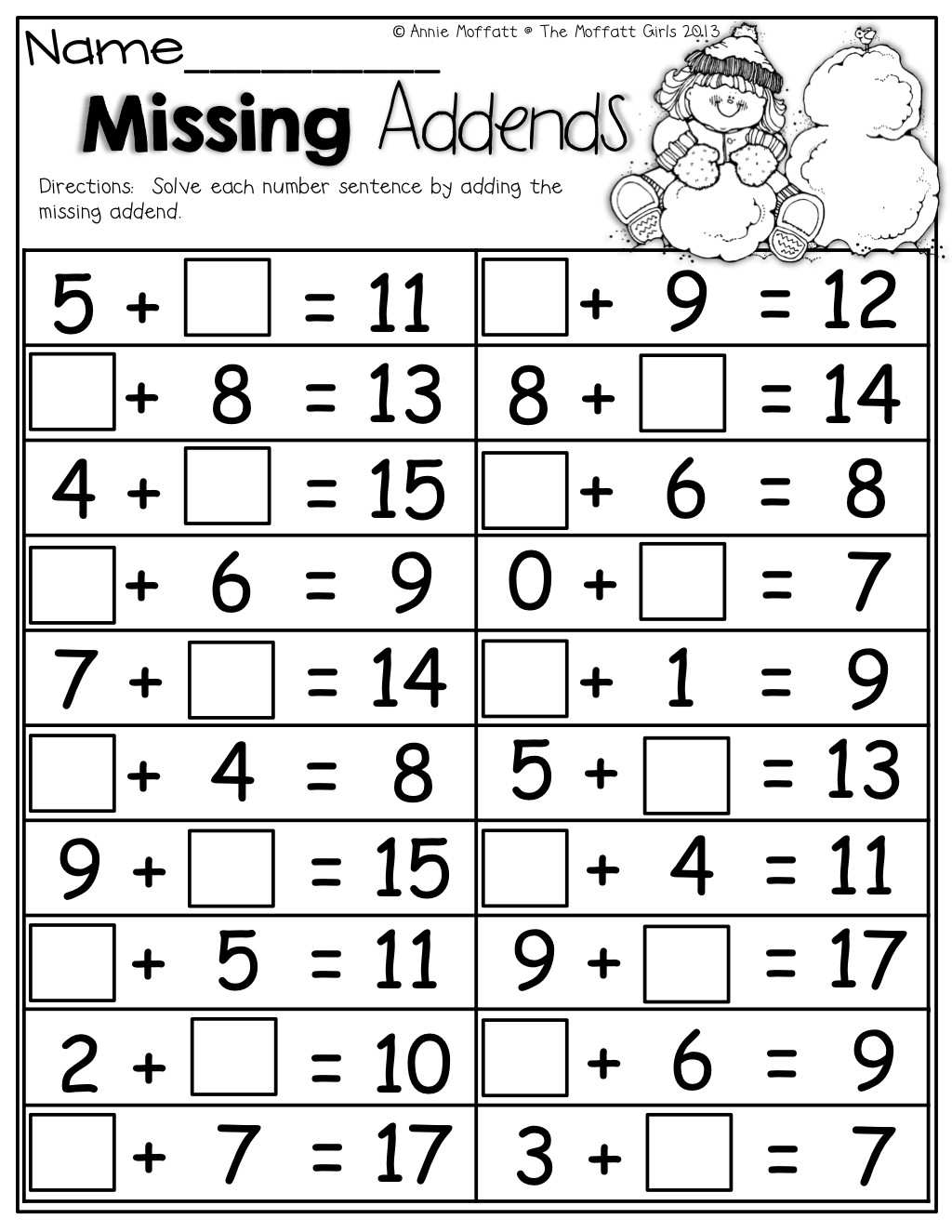 Missing Addend Worksheets First Grade Math Worksheets with Missing Addends