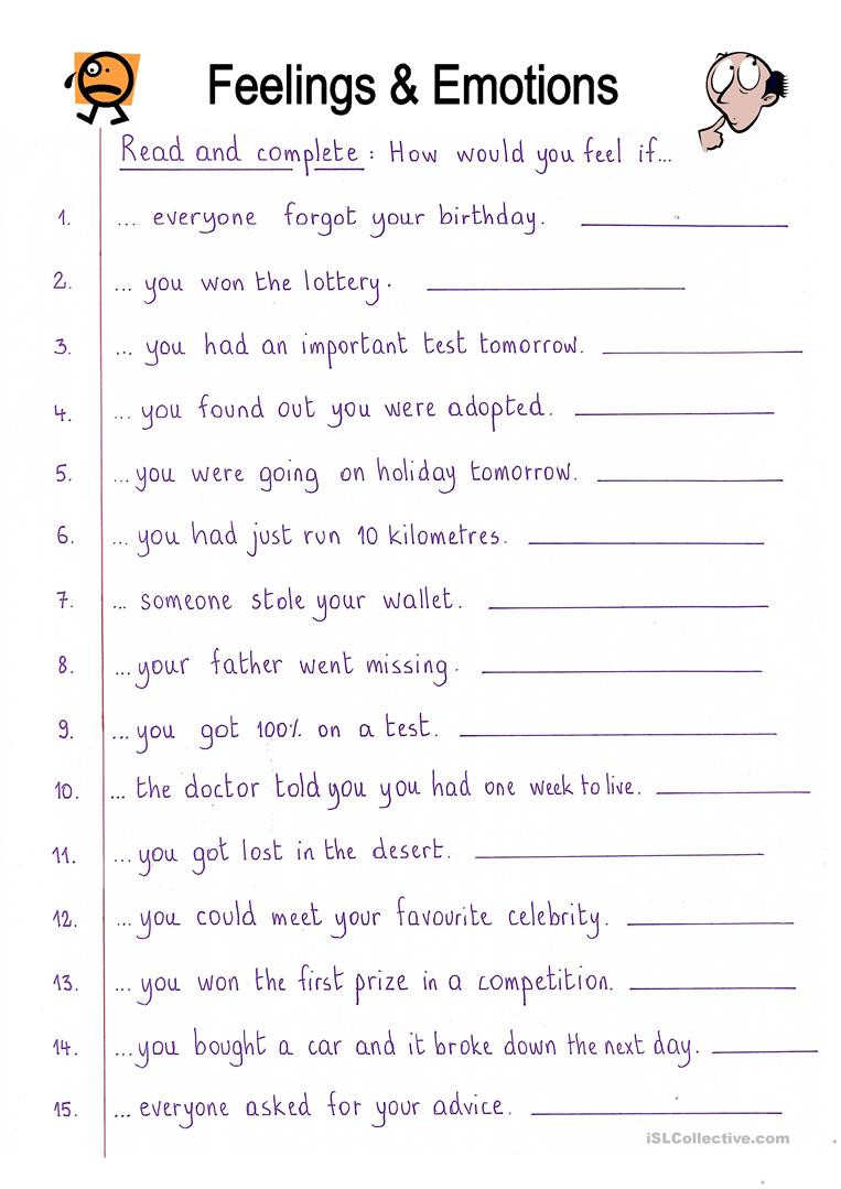 Mood Worksheets for Middle School English Esl Feelings Emotions Worksheets Most Ed