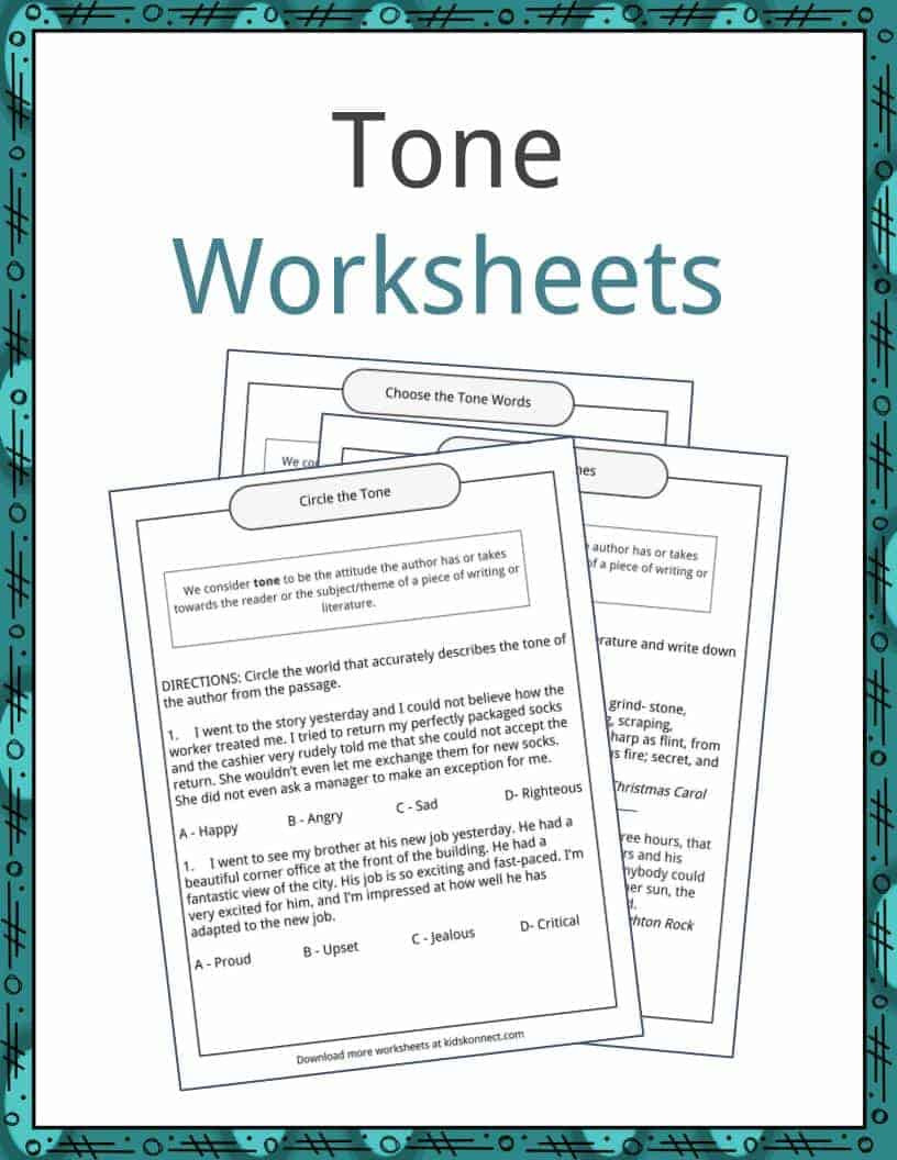 Mood Worksheets for Middle School tone Examples Definition and Worksheets