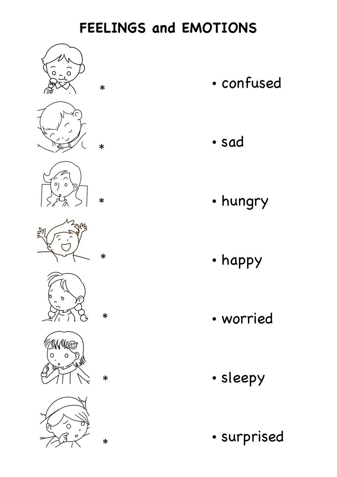 Mood Worksheets for Middle School Worksheets Emotion and Feelings for Kids English
