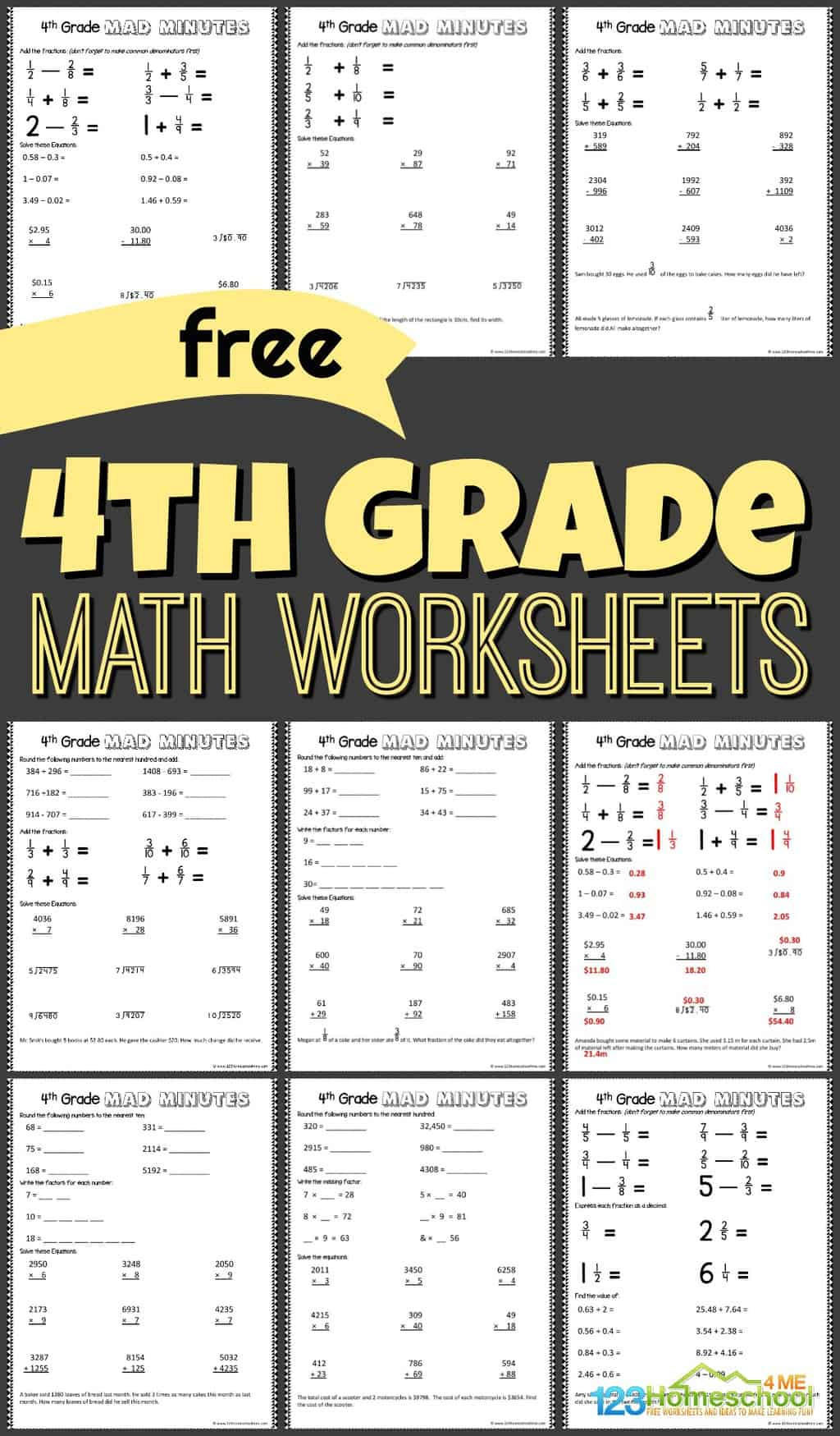 Multiplication Worksheets Grade 4 Pdf Free 4th Grade Math Worksheets Printable Workbook Answers