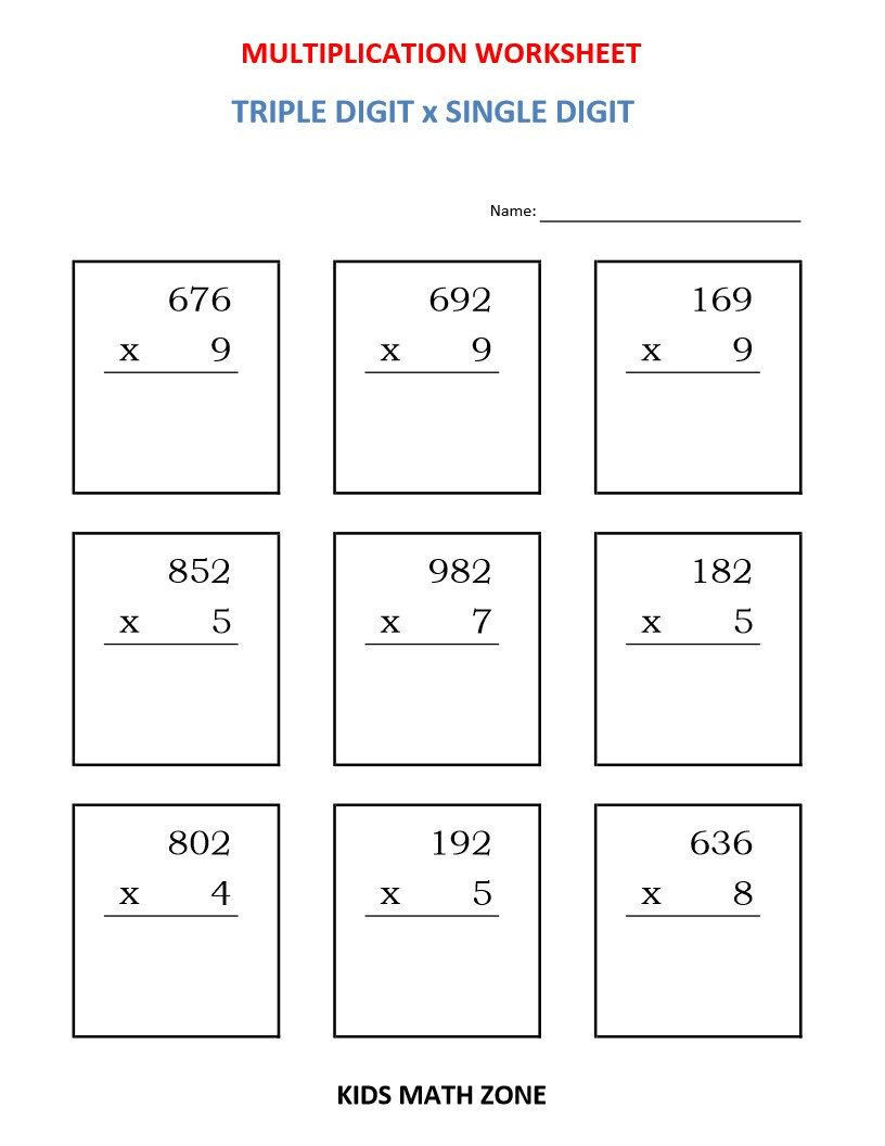 Multiplication Worksheets Grade 4 Pdf Multiplication Triple Digit X Single Digit 10 Etsy