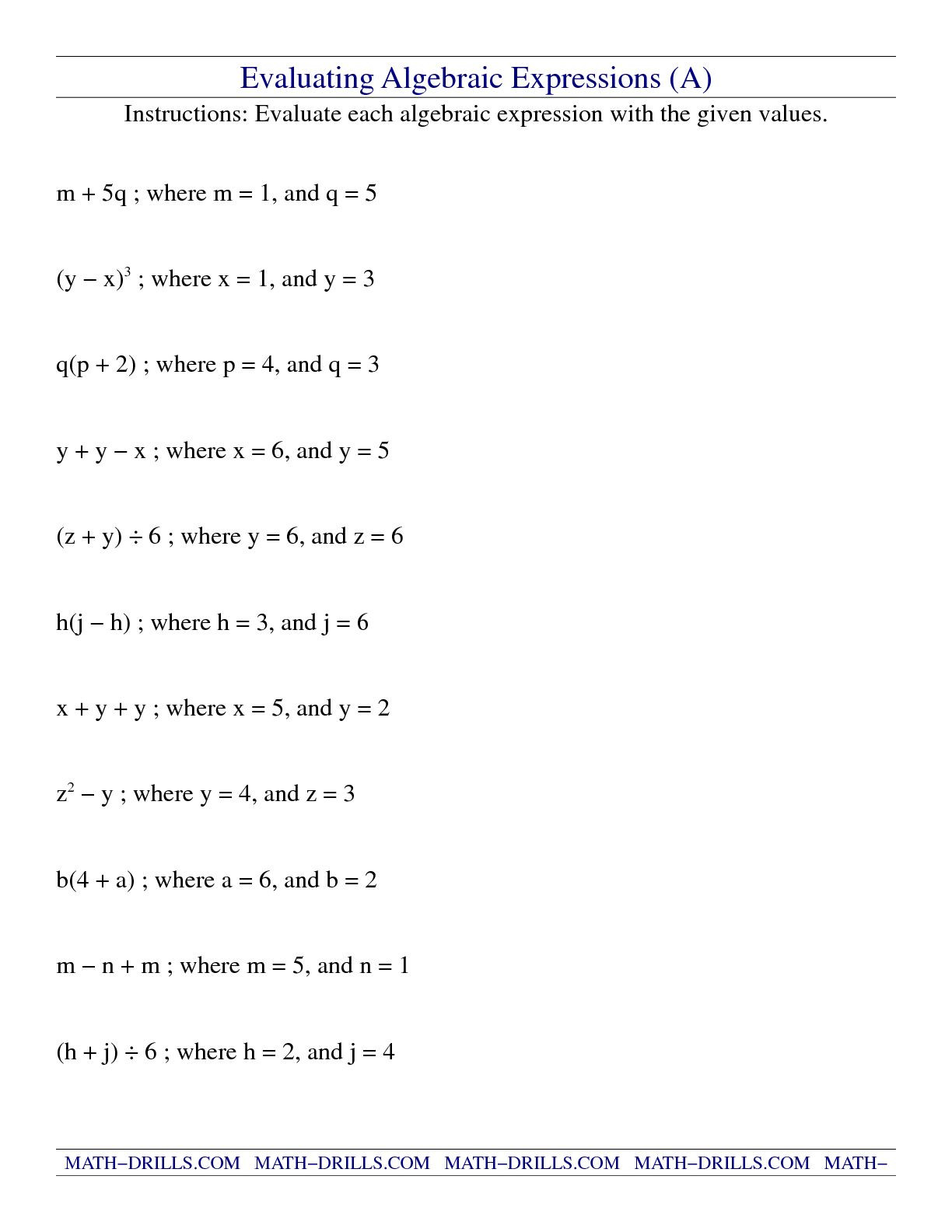 Numerical Expressions Worksheets 6th Grade Evaluating Expressions Worksheet Fun