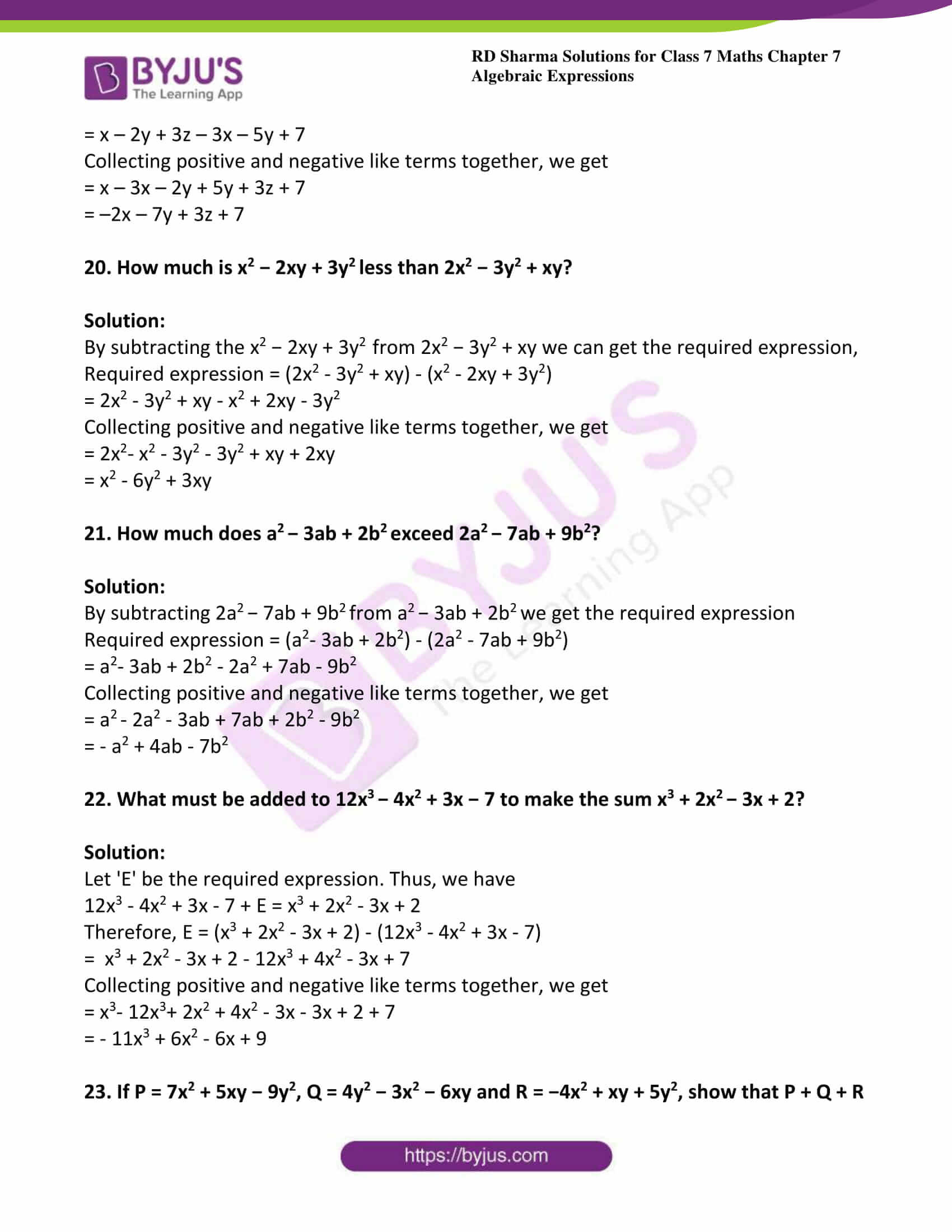 Numerical Expressions Worksheets 6th Grade Rd Sharma solutions for Class 7 Maths Chapter 7 Algebraic