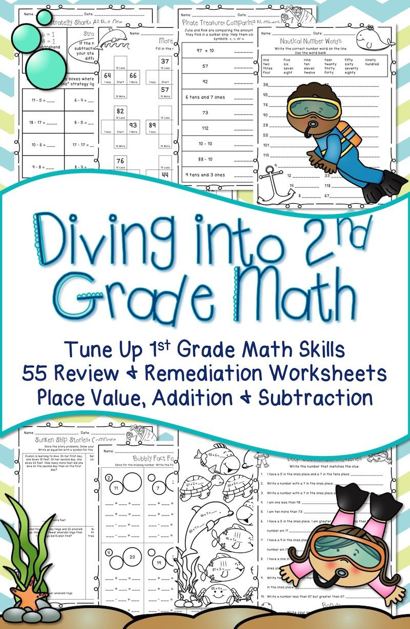 Ocean Worksheets for 2nd Grade Second Grade Back to School Math Review Printables