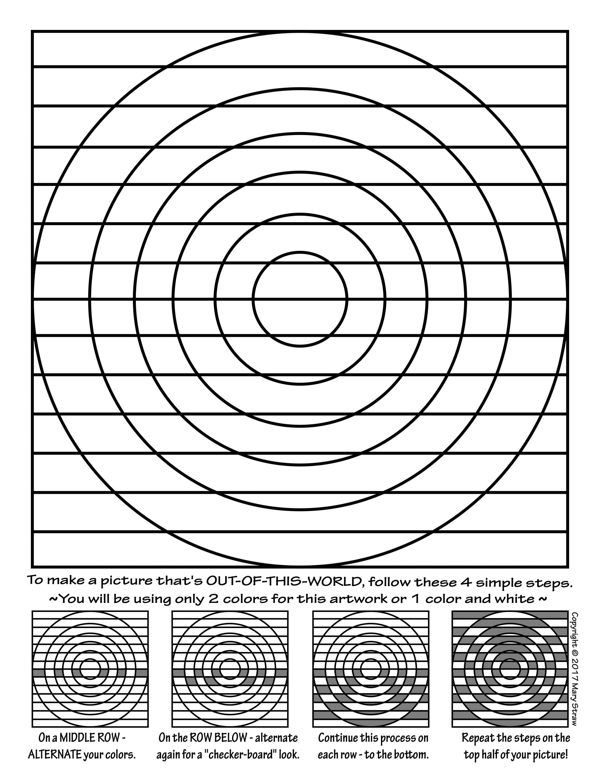 Optical Illusion Worksheets Printable Art Enrichment Everyday Summer Activity Coloring Pages