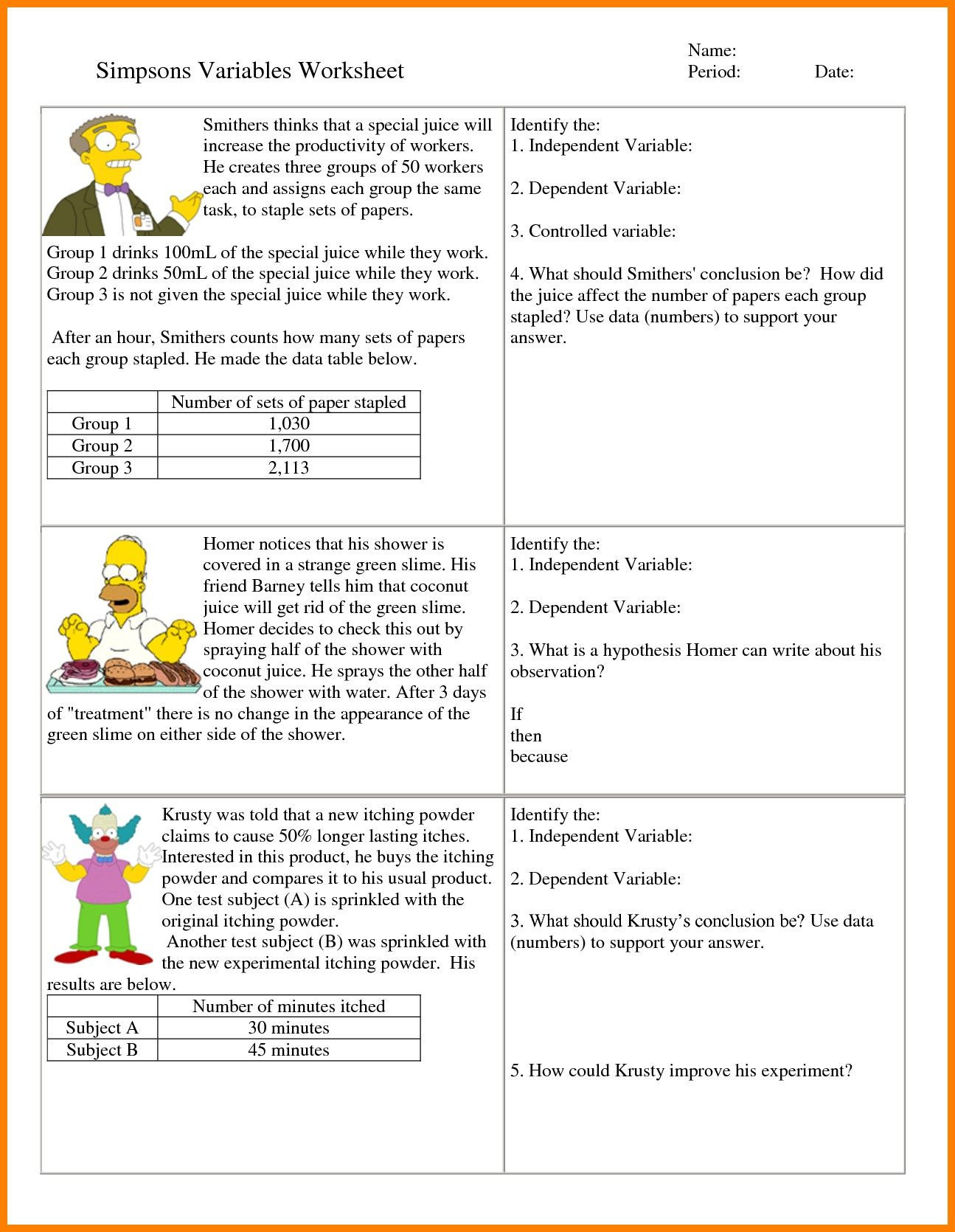 Personification Worksheets for Middle School 6th Grade Hypothesis Worksheet Refrence 7 Independent and