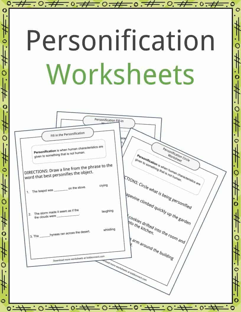 Personification Worksheets for Middle School Personification Examples Definition and Worksheets