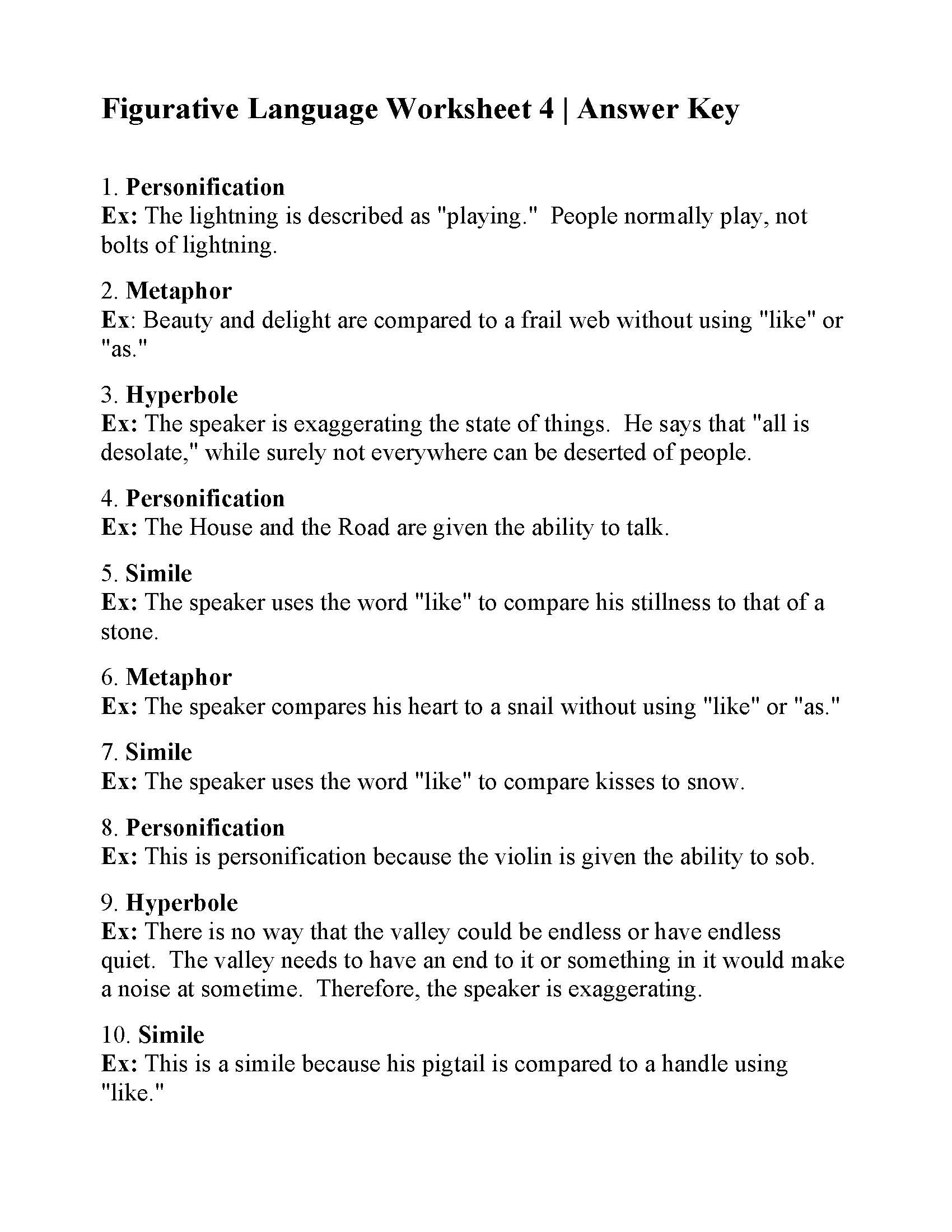 Personification Worksheets for Middle School Simile Worksheets for 6th Grade