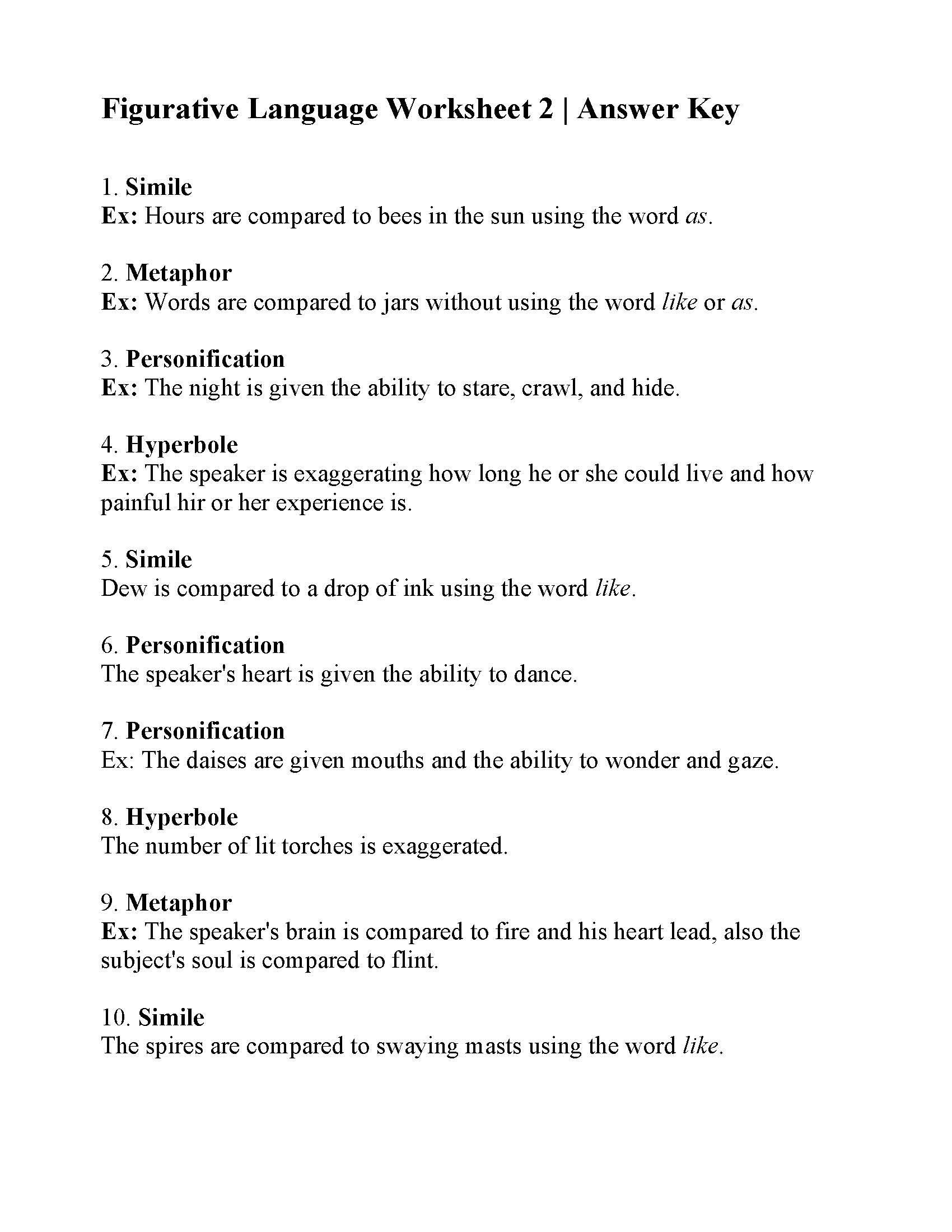 Personification Worksheets for Middle School This is the Answer Key for the Figurative Language Worksheet
