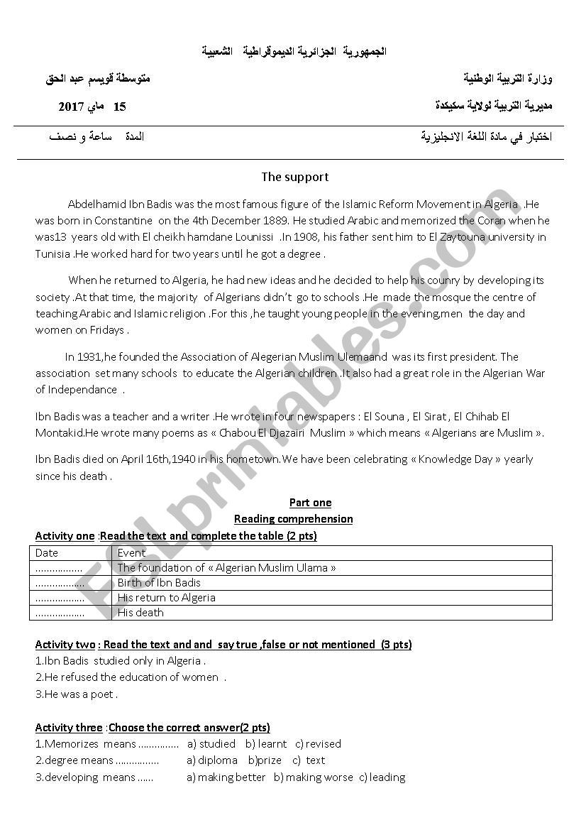Poetry Worksheets Middle School Biography Exam for Middle School Esl Worksheet by Nassimproff