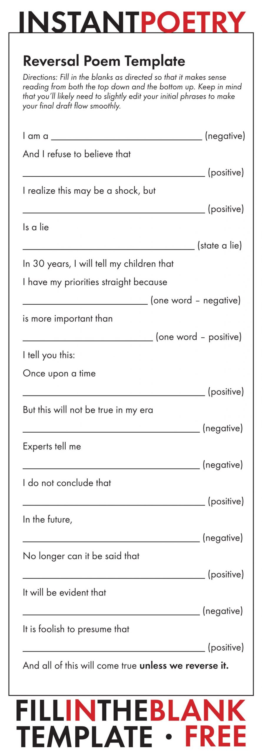 Poetry Worksheets Middle School Free and Easy Poetry assignment Just Print and Teach
