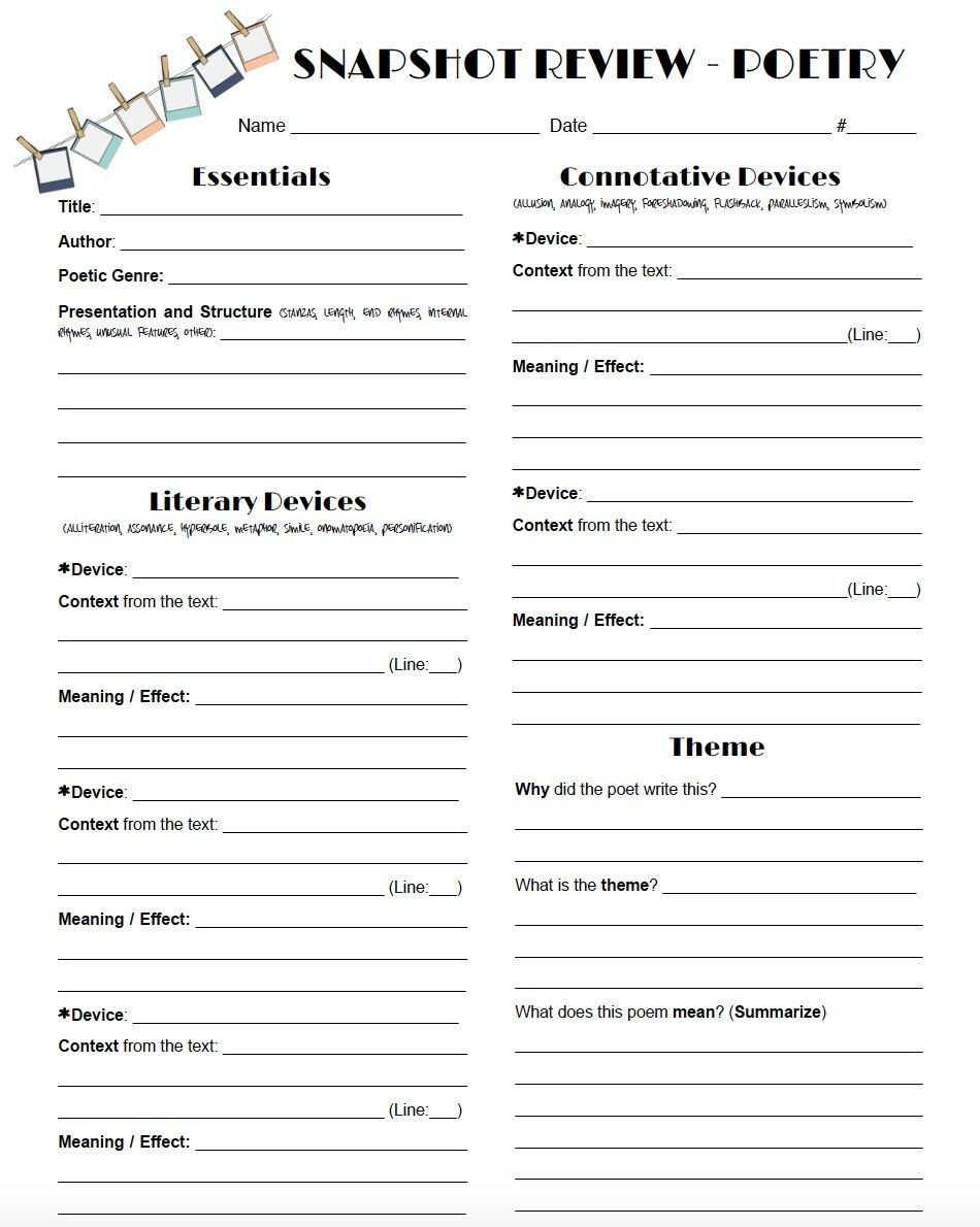 Poetry Worksheets Middle School Review Poetry In A Snap with This One Page Worksheet