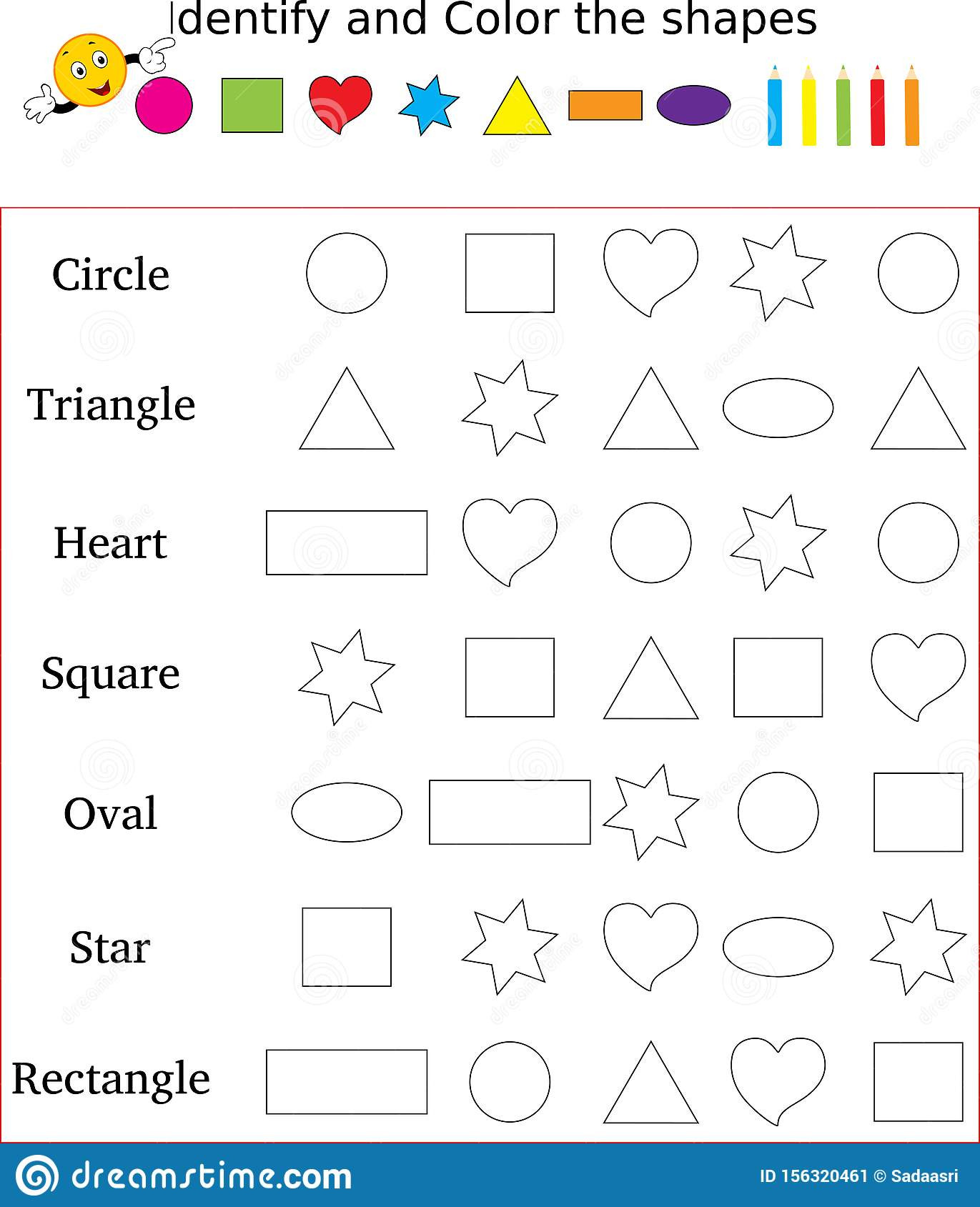 Polygon Worksheets 3rd Grade Identify and Color the Correct Shape Worksheet Stock Image
