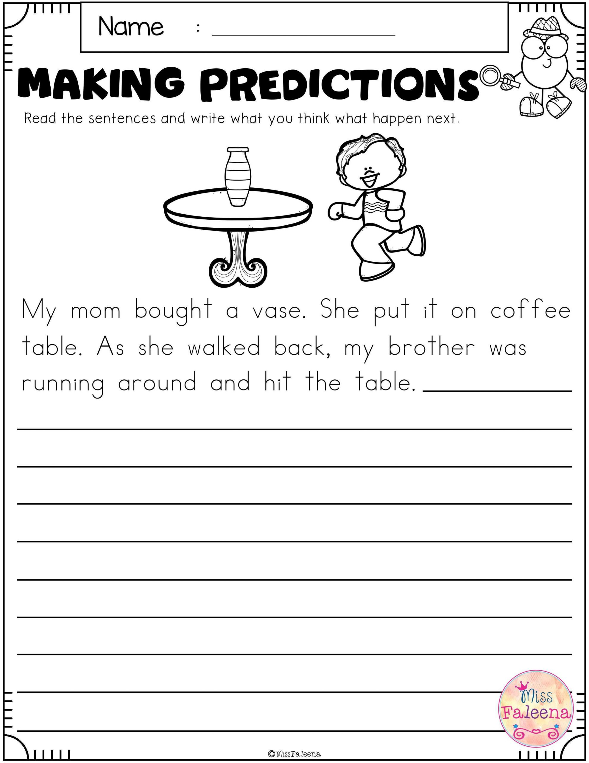 Prediction Worksheets 2nd Grade Free Making Predictions with Images