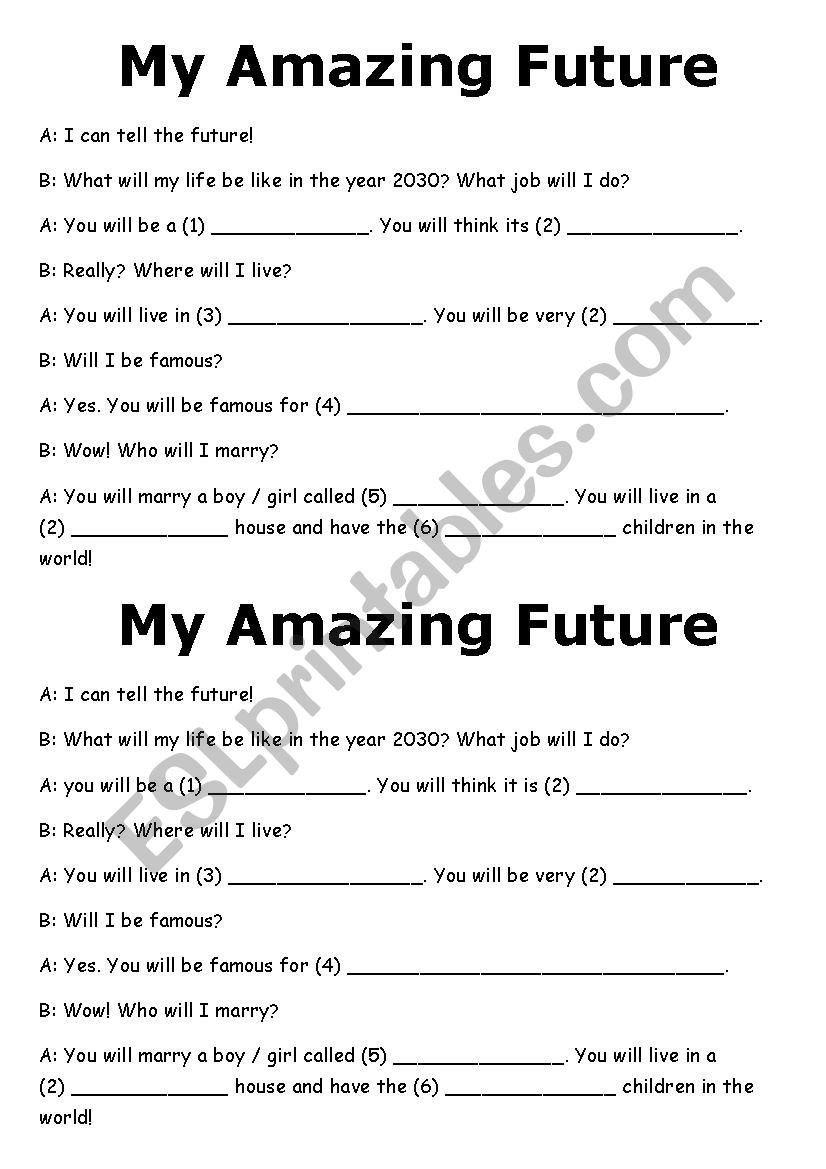 Prediction Worksheets for 3rd Grade Future Predictions Madlib Esl Worksheet by Lucyj16 Free Mad