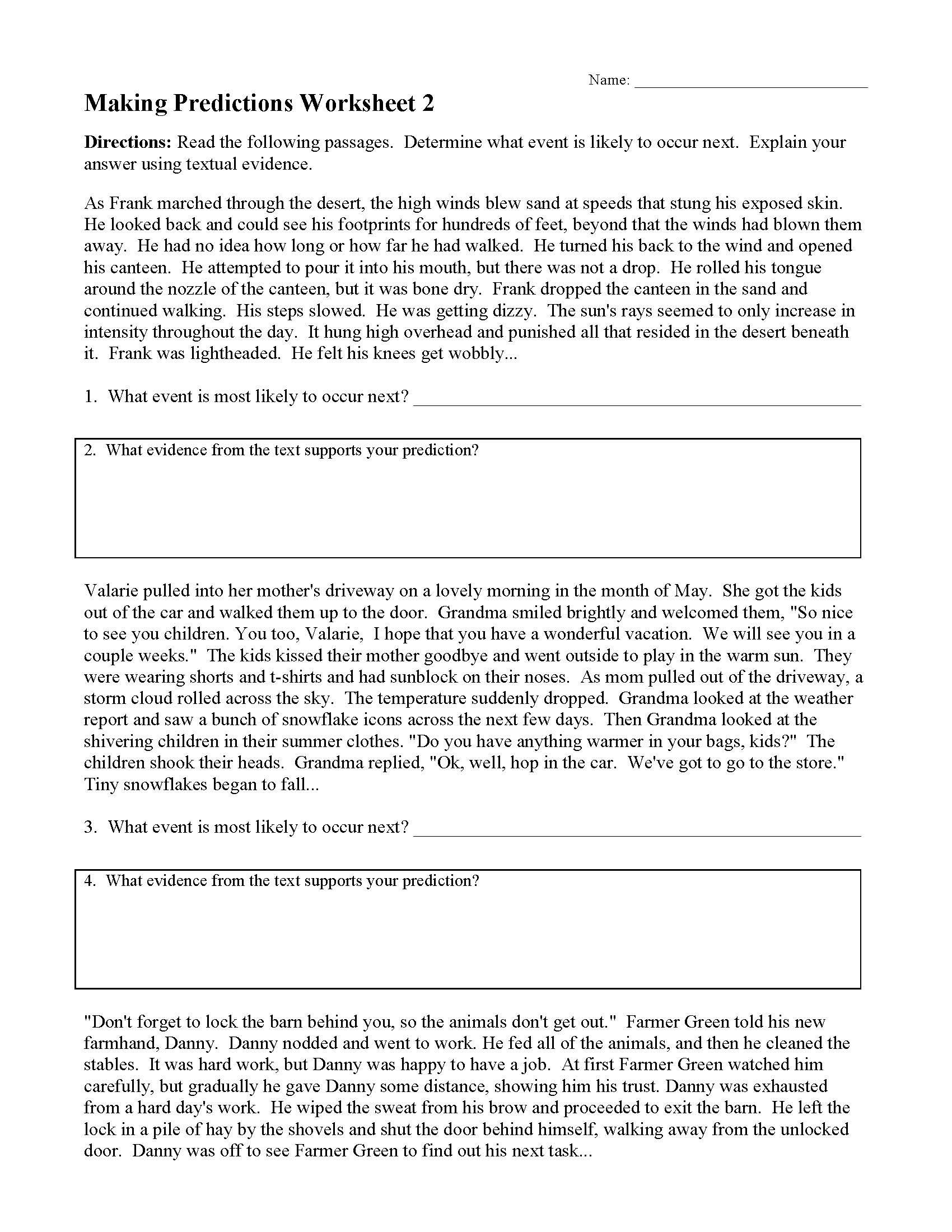 Prediction Worksheets for 3rd Grade Making Predictions Worksheets and Lessons