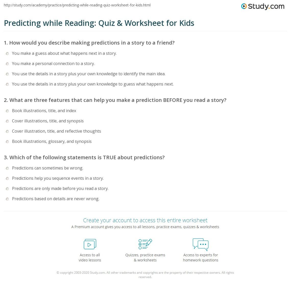 Prediction Worksheets for 3rd Grade Predicting while Reading Quiz & Worksheet for Kids