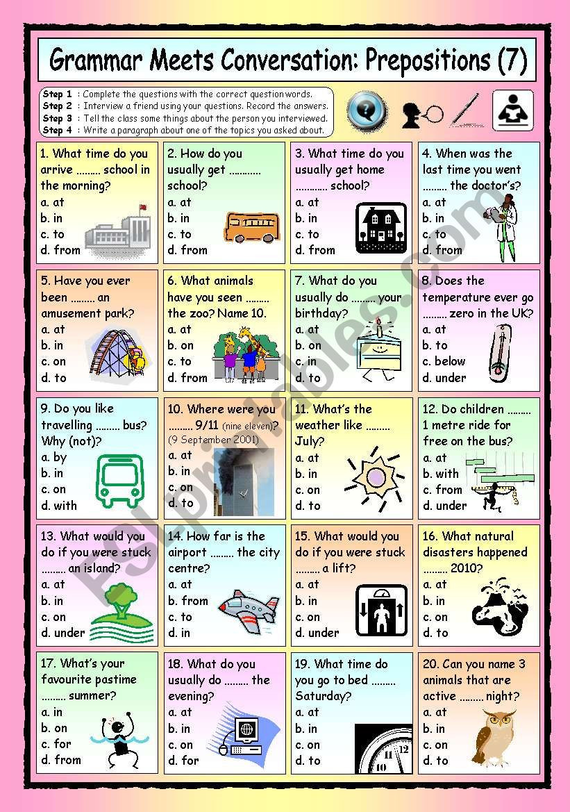 Preposition Worksheets for Middle School Grammar Meets Conversation Prepositions 7 asking