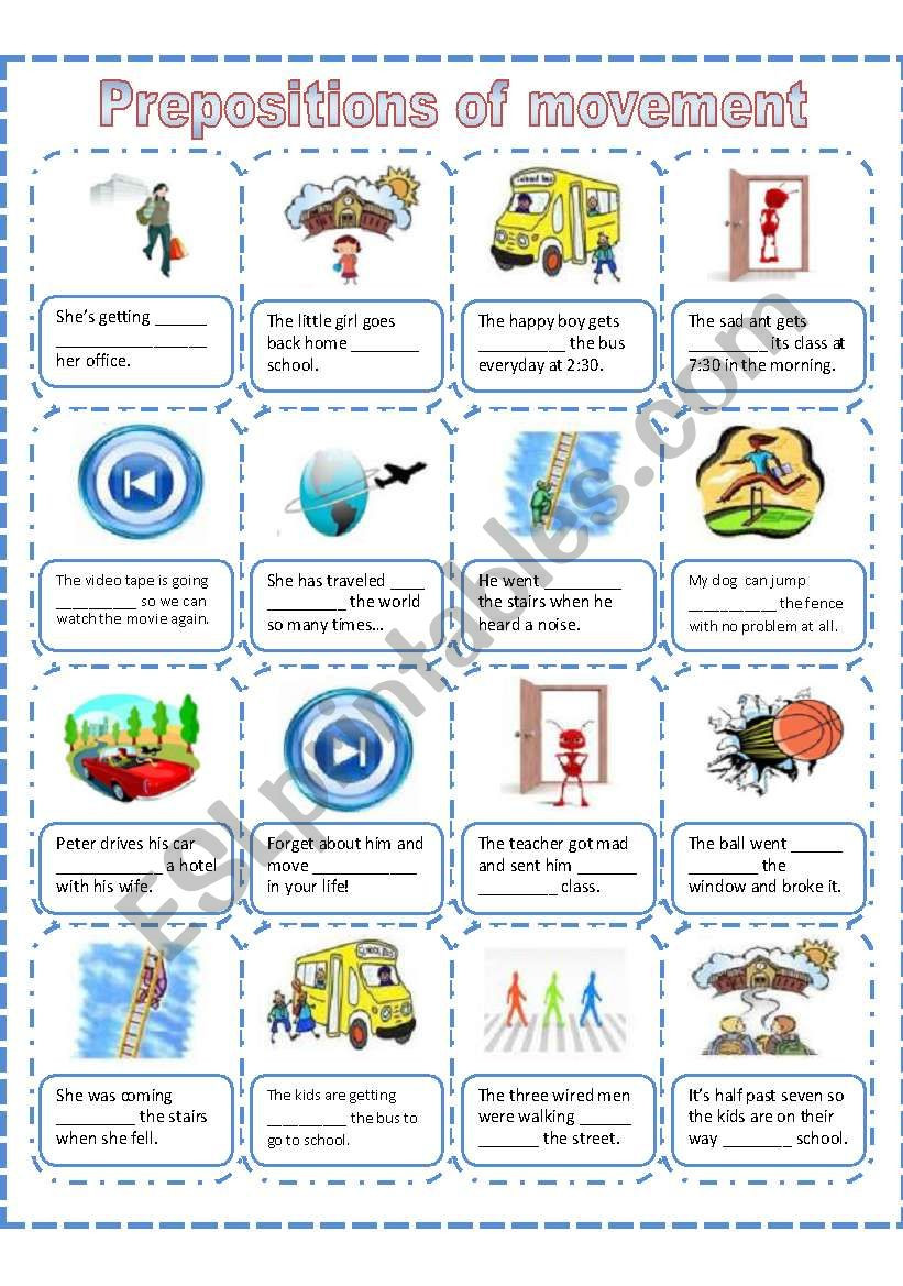 Preposition Worksheets for Middle School Prepositions Movement Worksheet Esl by Akanah Worksheets