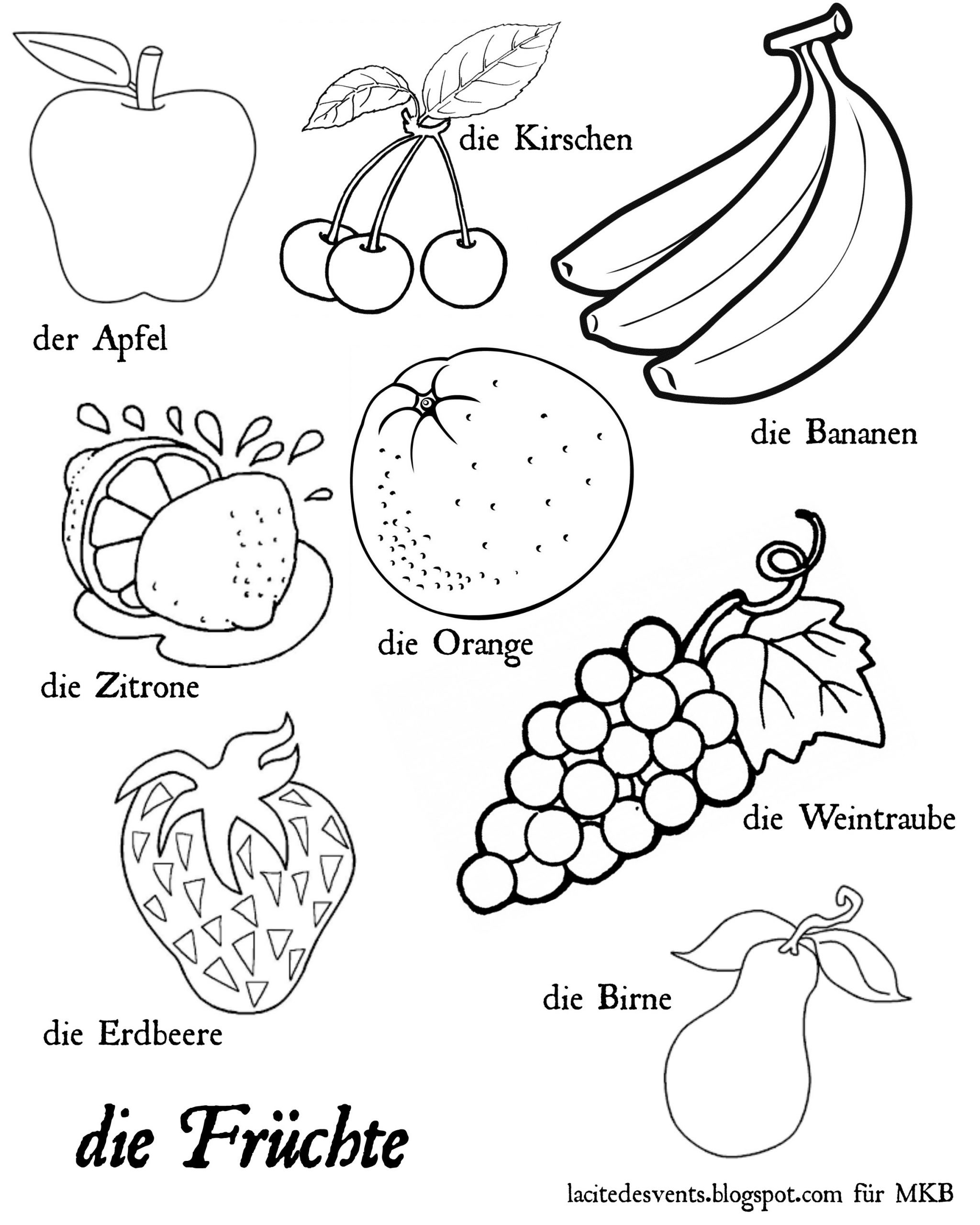 Preschool Fruits and Vegetables Worksheets Fruits German Multilingual Fruits and Ve Ables In