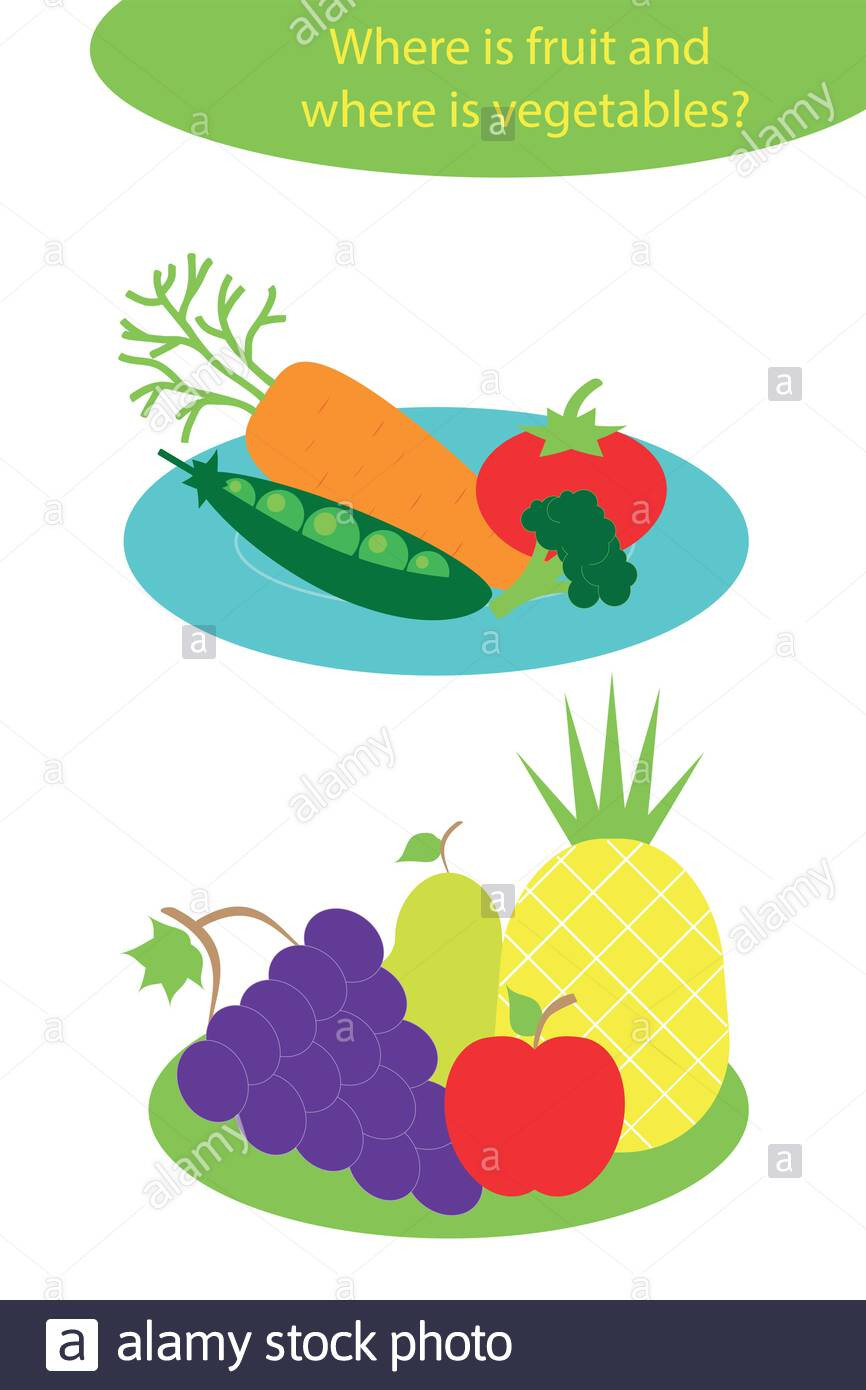 Preschool Fruits and Vegetables Worksheets Ve Ables and Fruit In Cartoon Style On Plates for Children