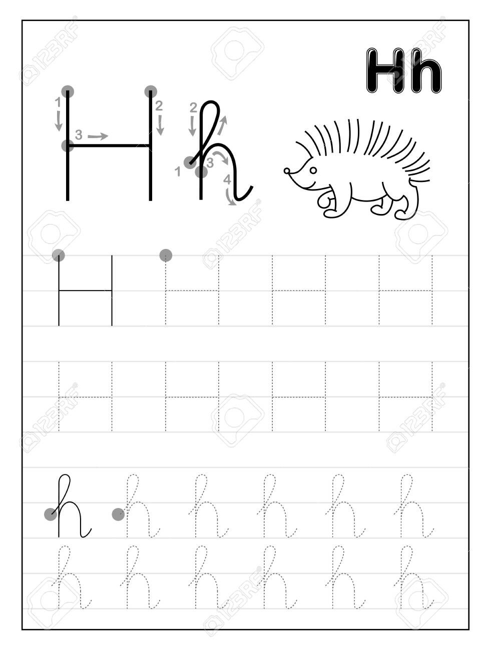 Preschool Letter H Worksheets Tracing Alphabet Letter H Black and White Educational Pages
