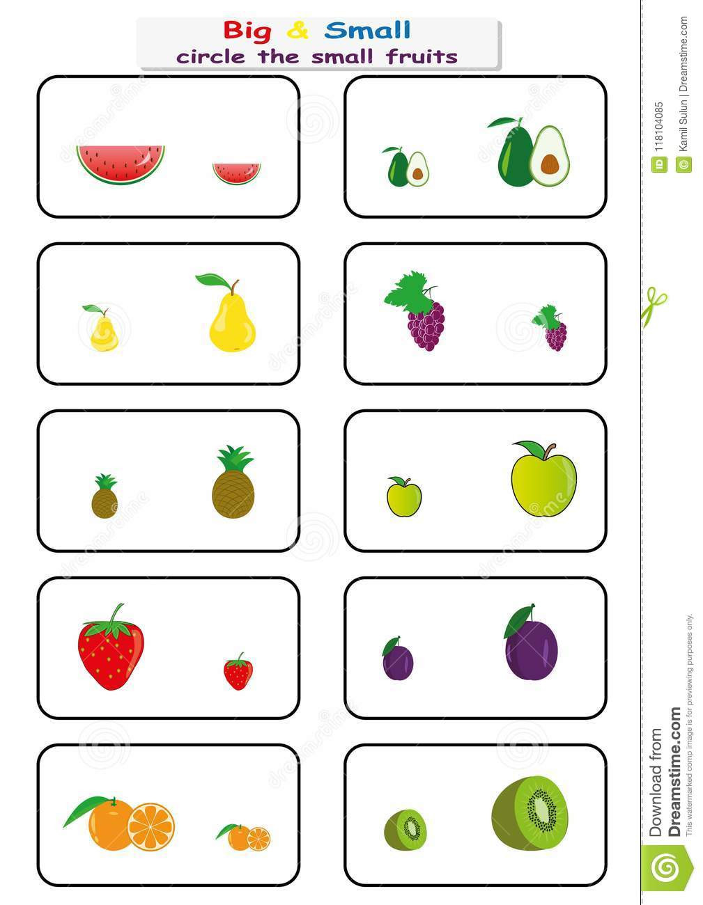 Preschool Opposite Worksheet Circle the Small Fruits Find Big Small Worksheet for